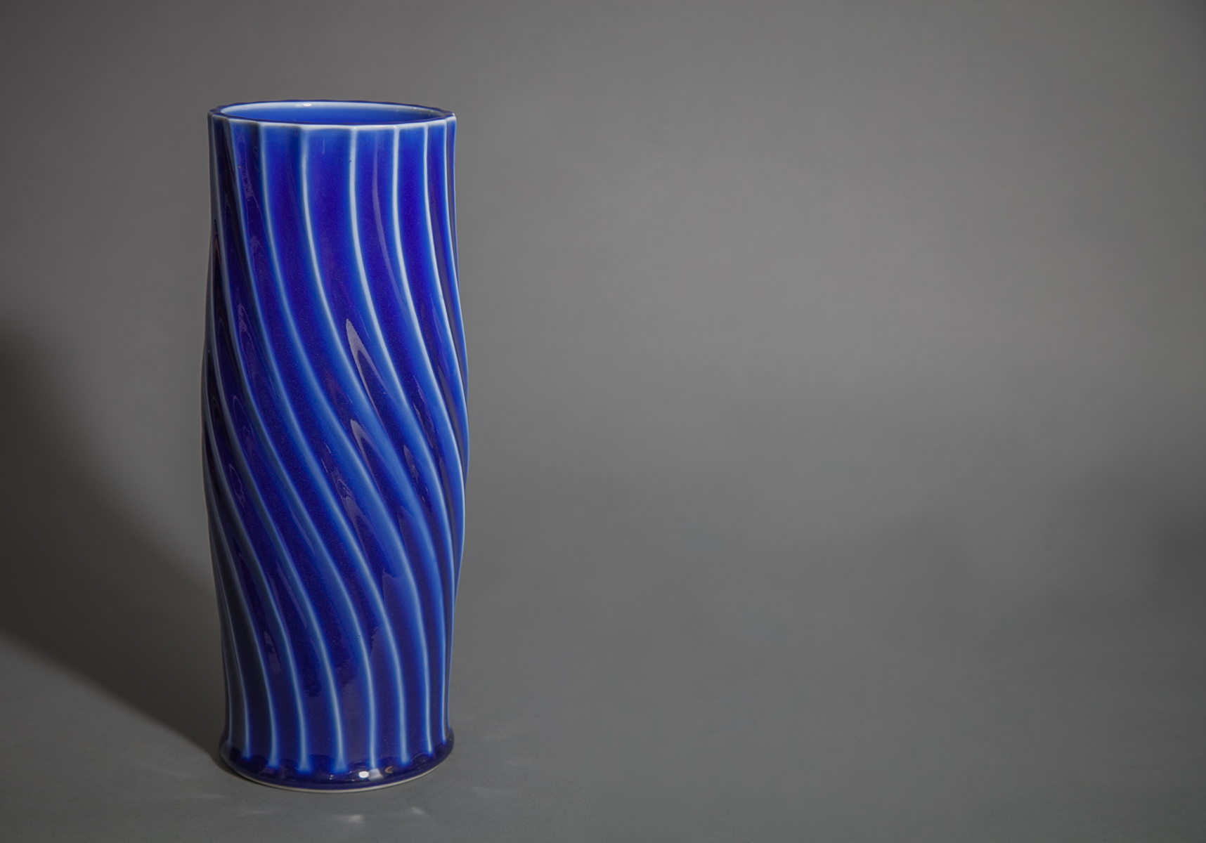 Modern Japanese Cobalt Blue Glass Ribbed Flower Vase