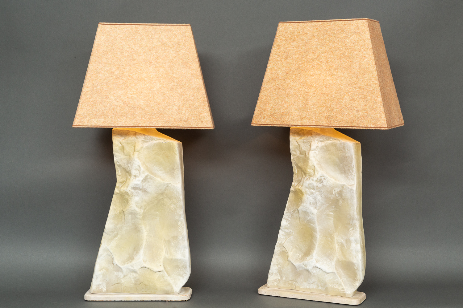 Pair of American Faux Stone Lamps