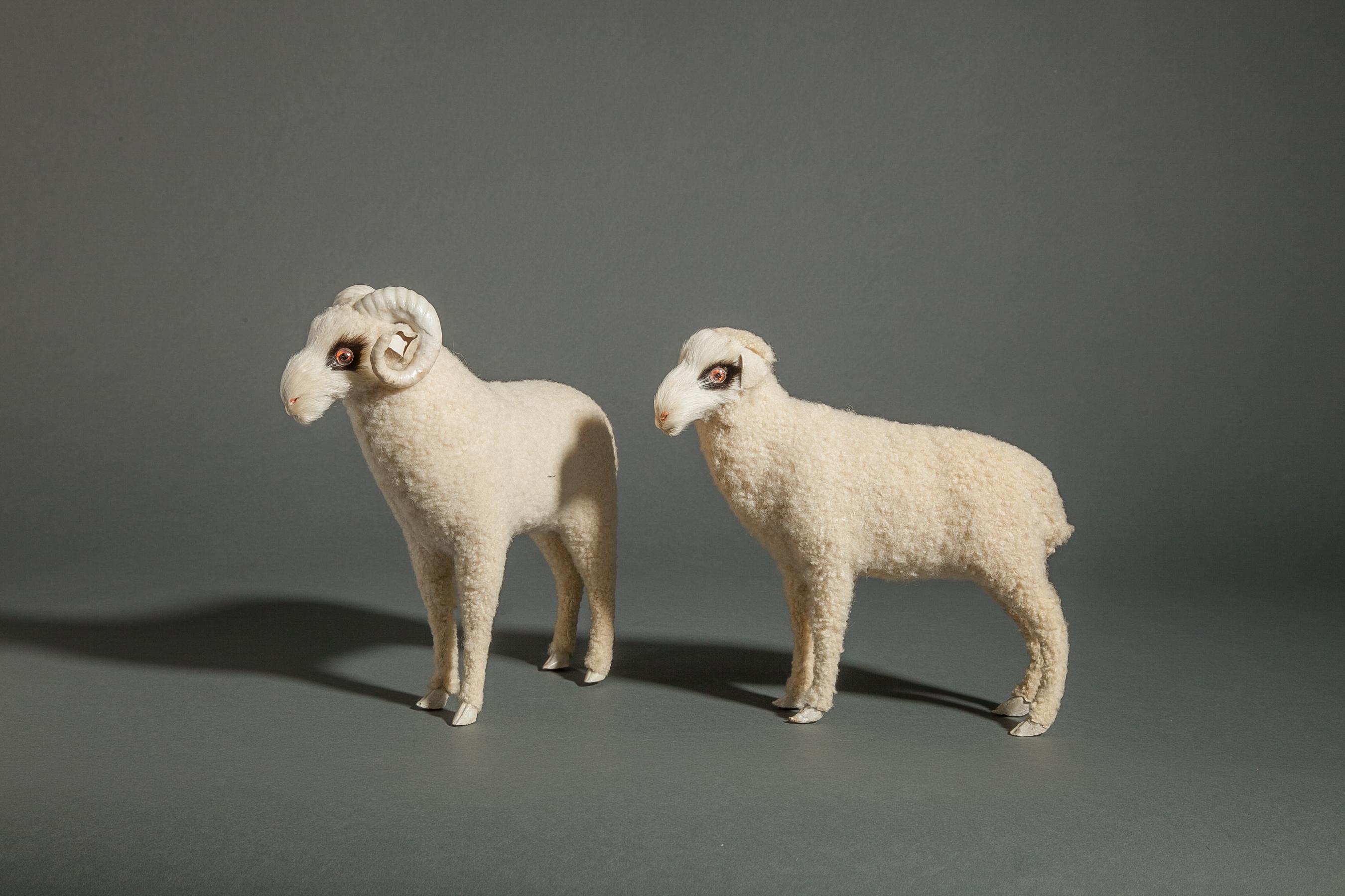 Pair of Antique Japanese Ceramic Sheep