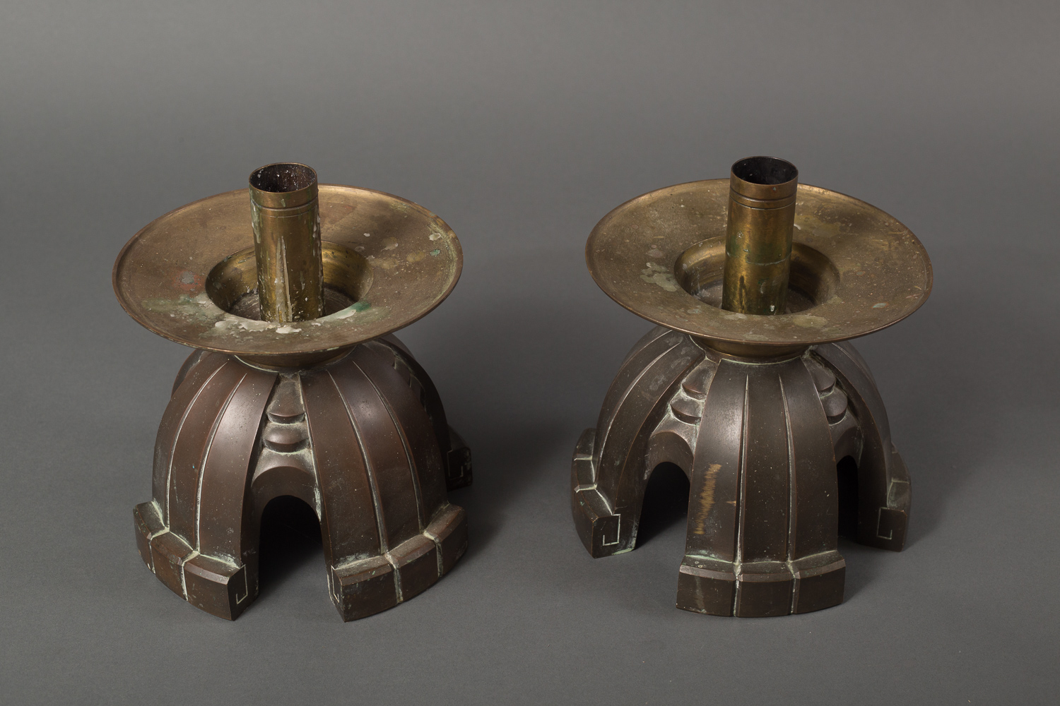 Pair of Bronze Chinese Temple Candlesticks
