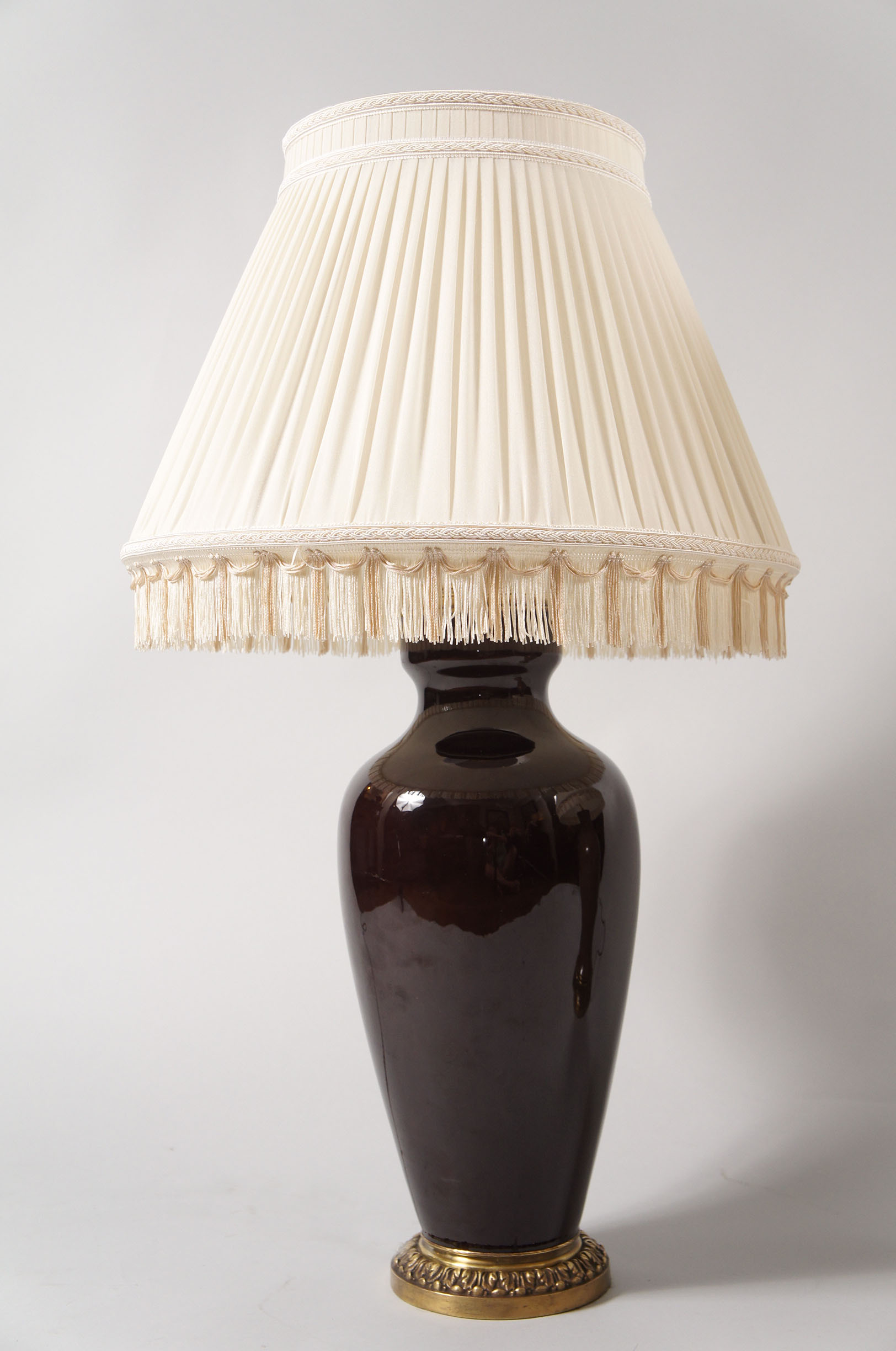 Pair of Ceramic Lamps with Custom Silk Pleated Shade