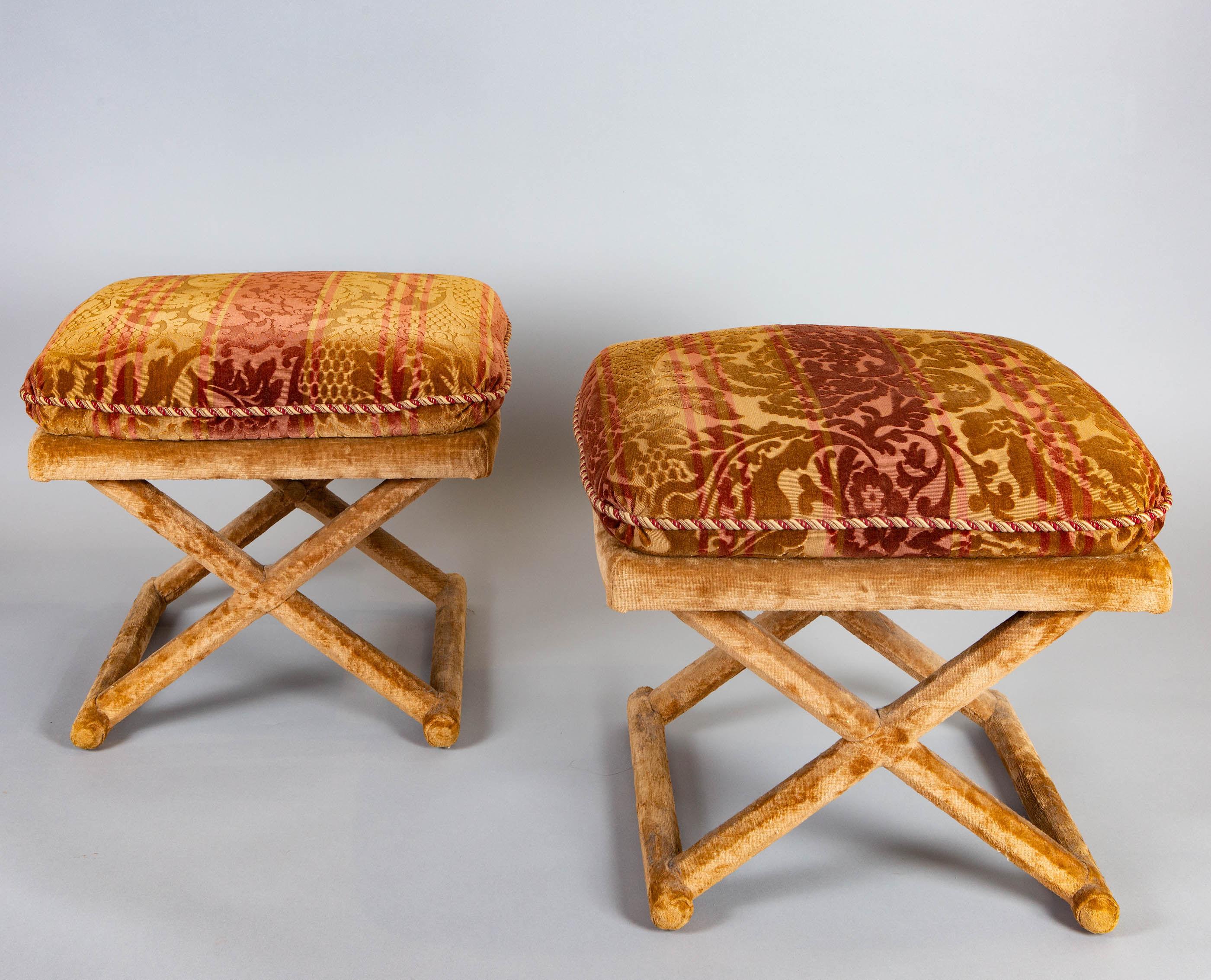 Pair of Cut Velvet and Velvet Upholstered X-Form Stools