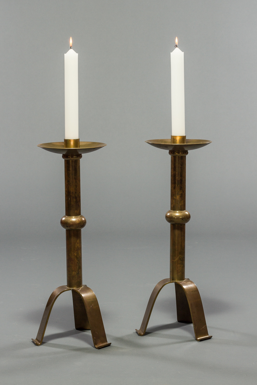 Pair of French Brass Altar Sticks