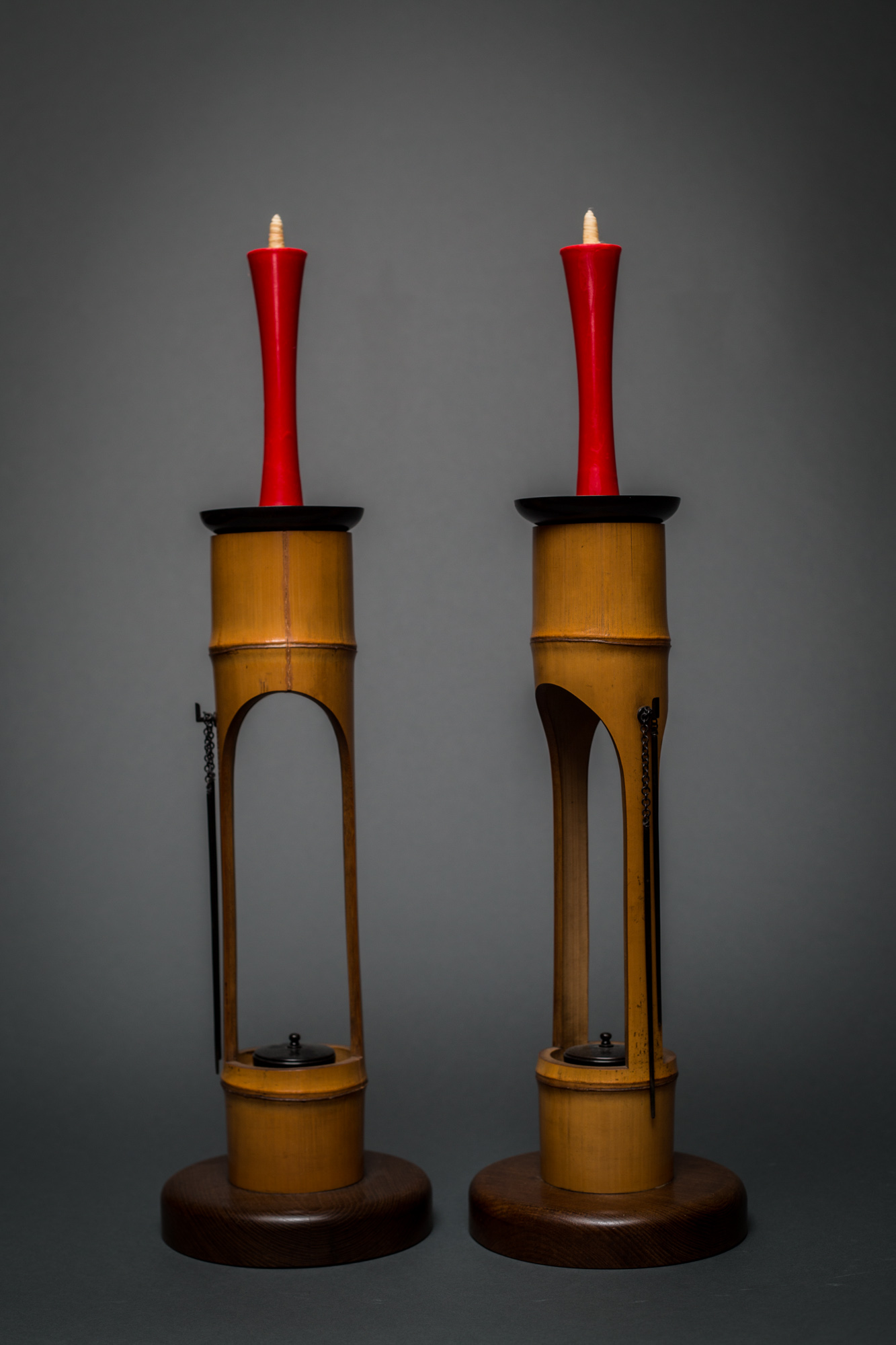 Pair of Japanese Bamboo Candlesticks
