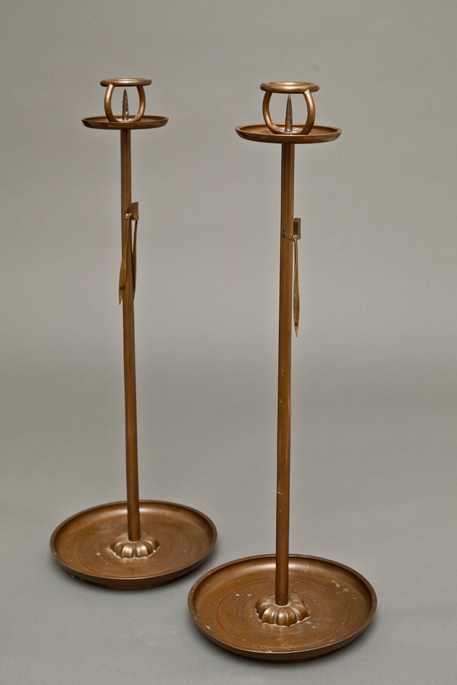 Pair of Japanese Bronze Tray Base Candlesticks
