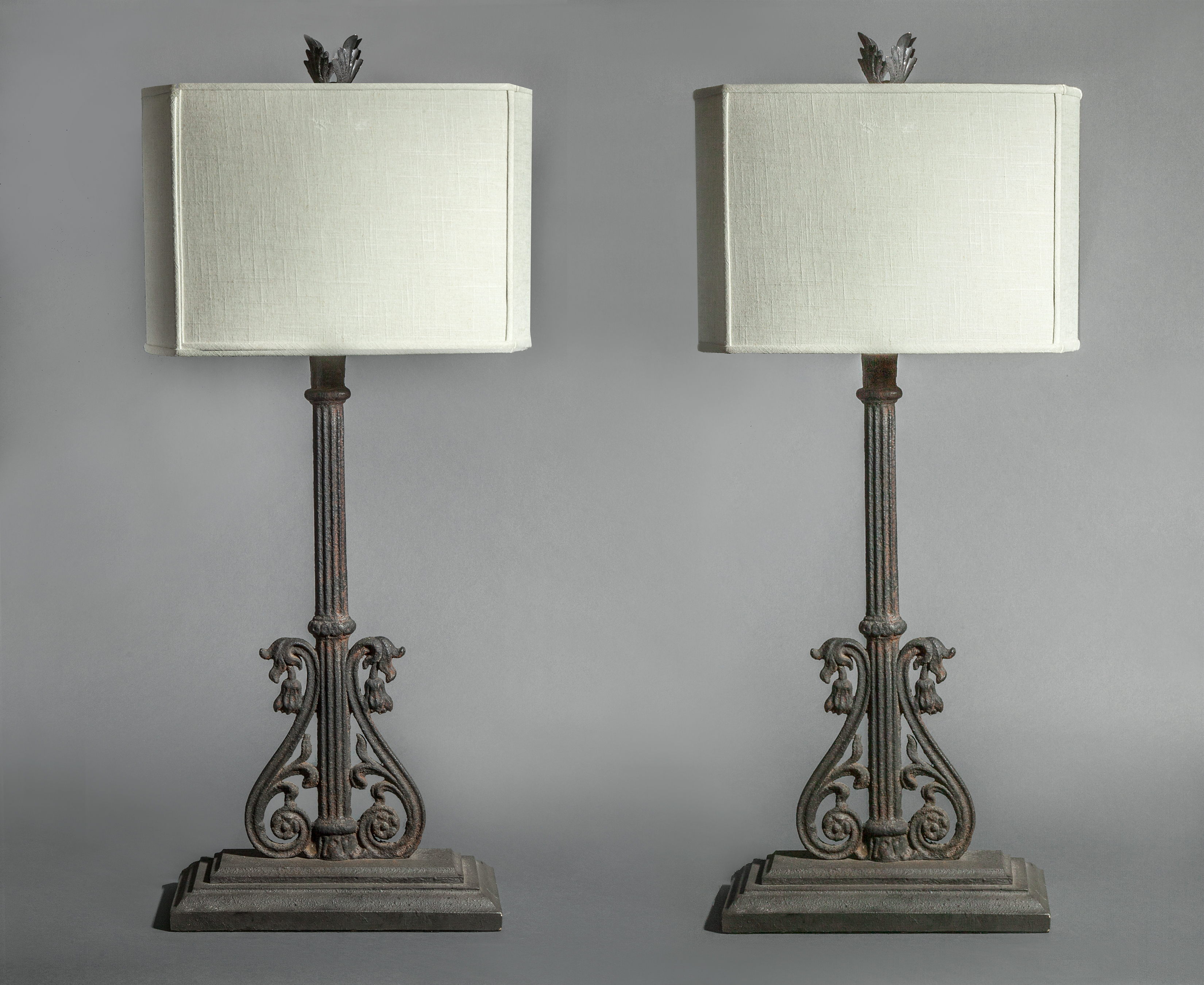 Pair of Lamps Using 19th Century Iron
