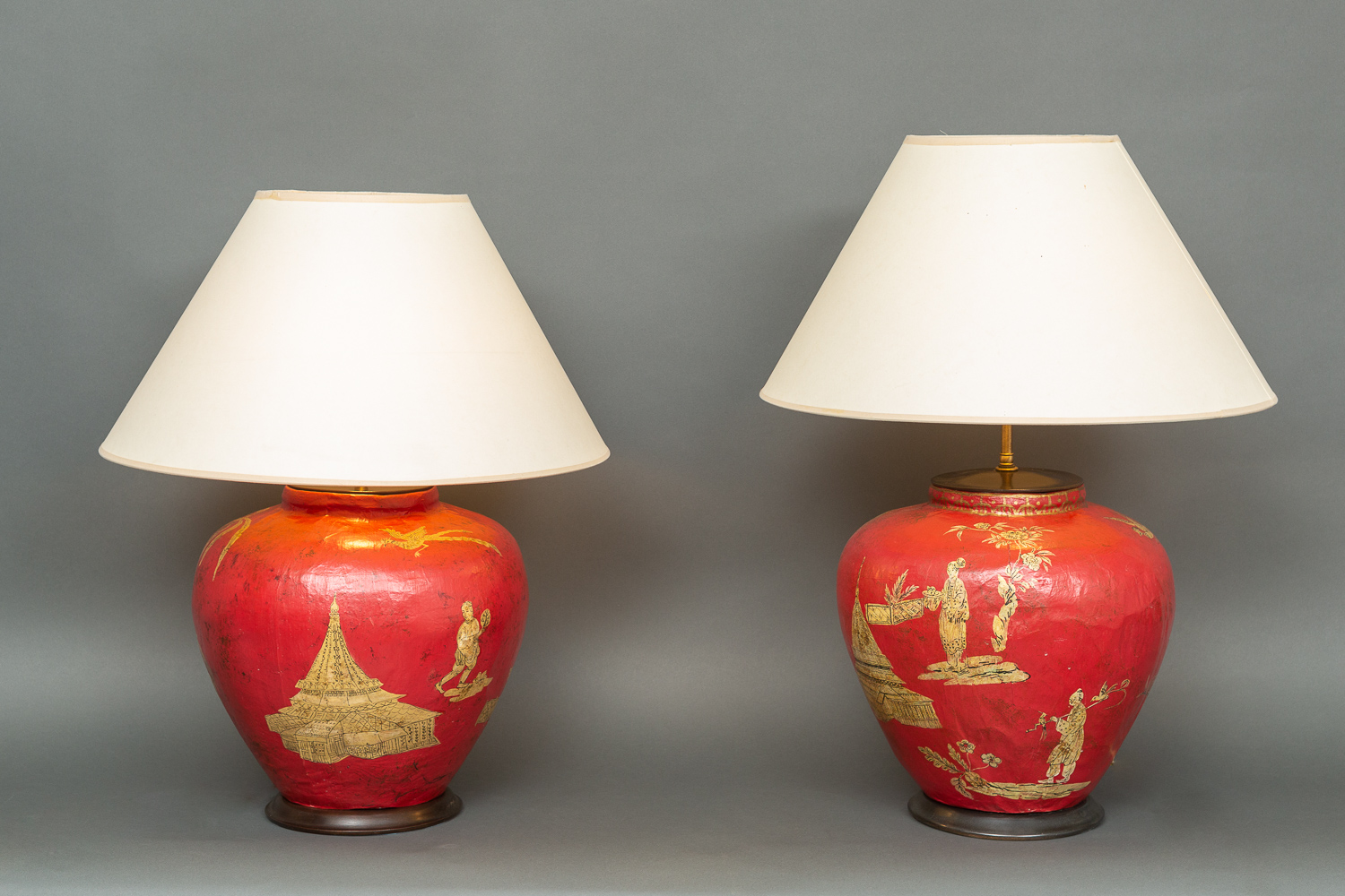 Pair of Handmade Parish Hadley Chinoiserie Decorated Lamps