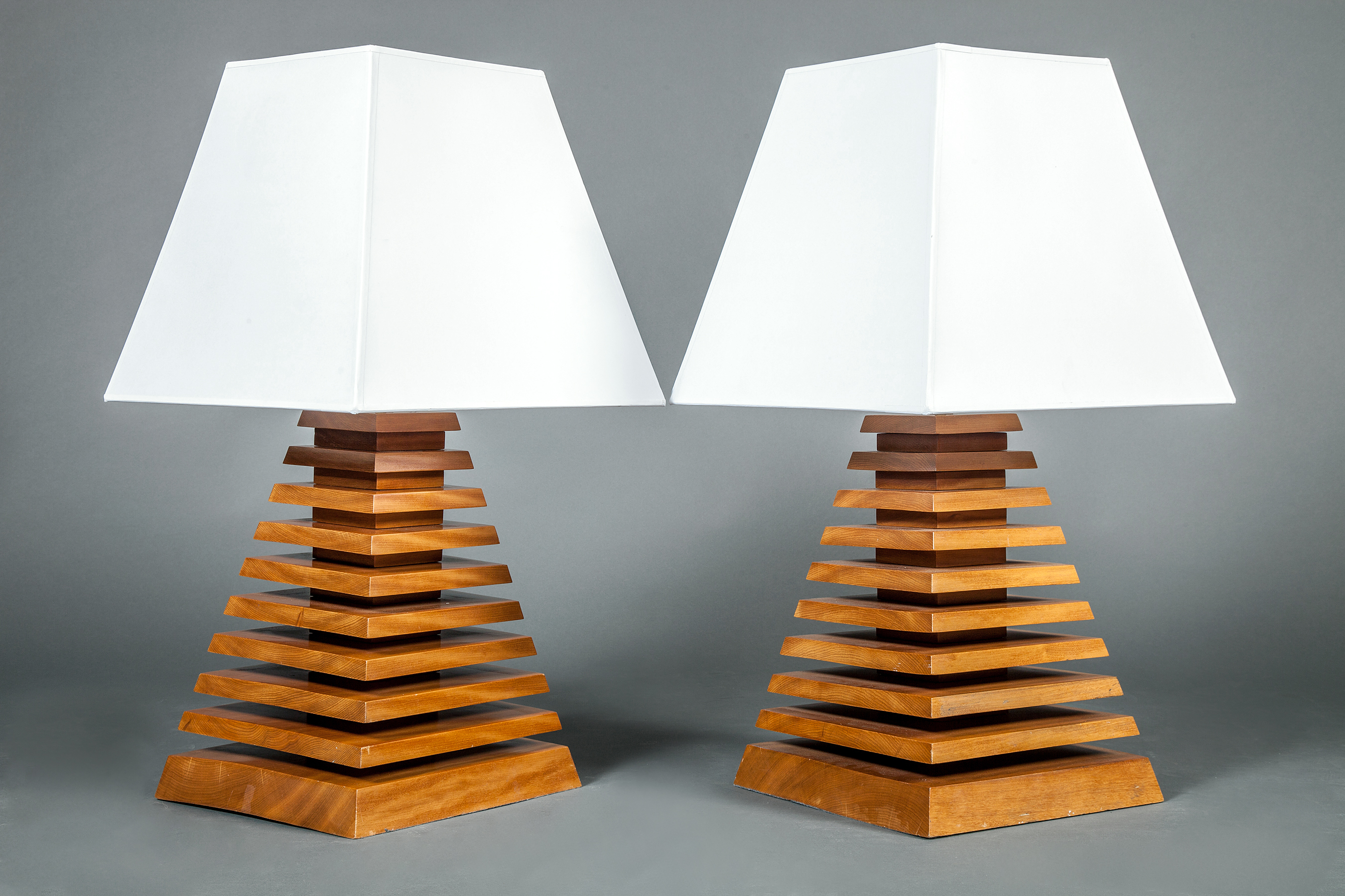 Pair of Wood Pyramid Shaped Lamps