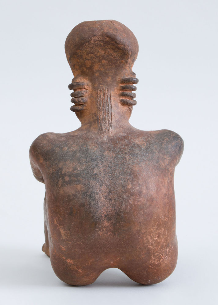 Red-Ground Pottery Seated Figure of a Man