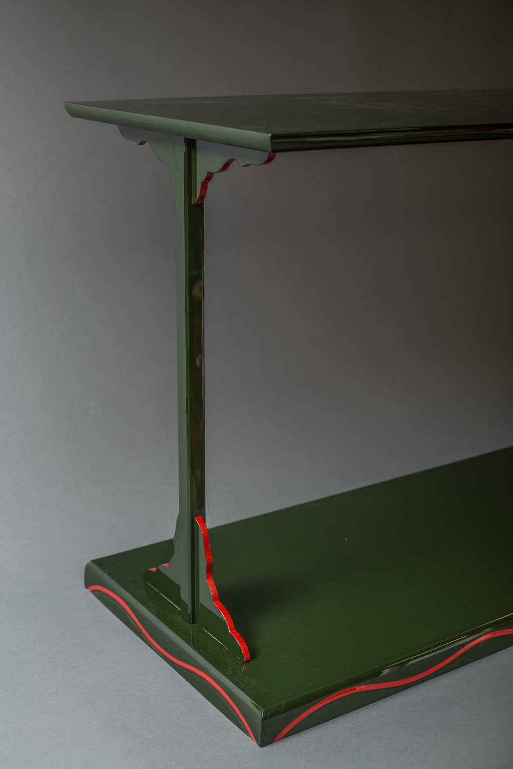 Showa Period Japanese Green Lacquer Side Table