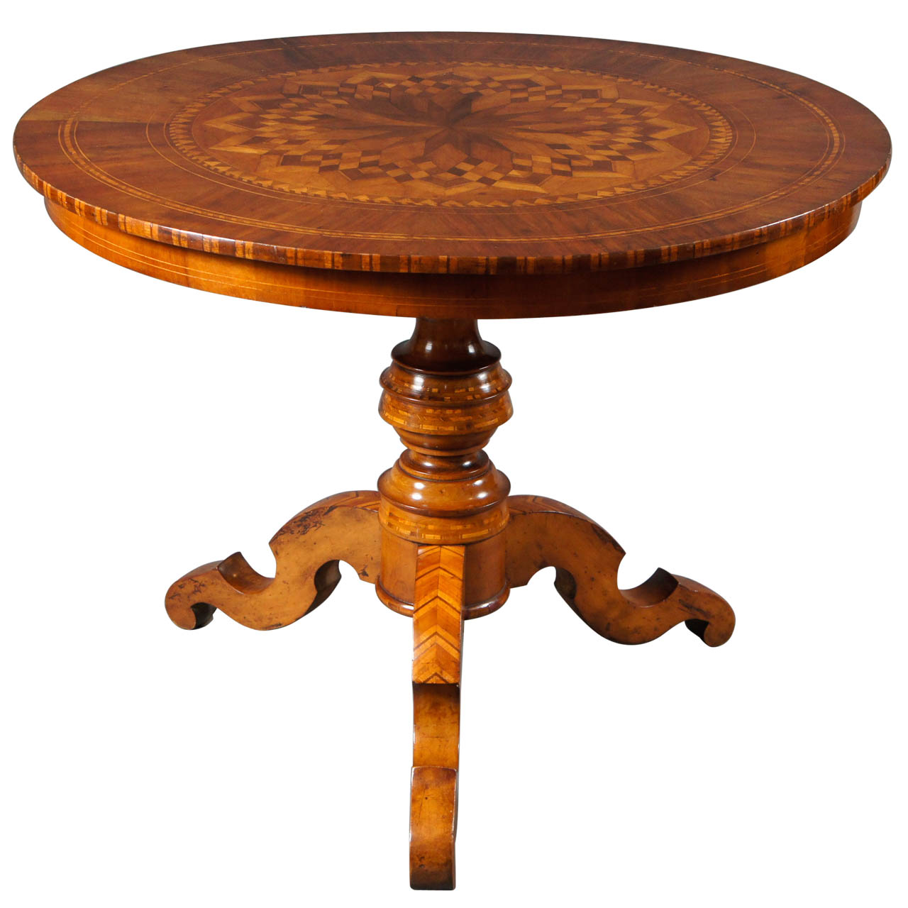 Single Center Table with Marquetry Top