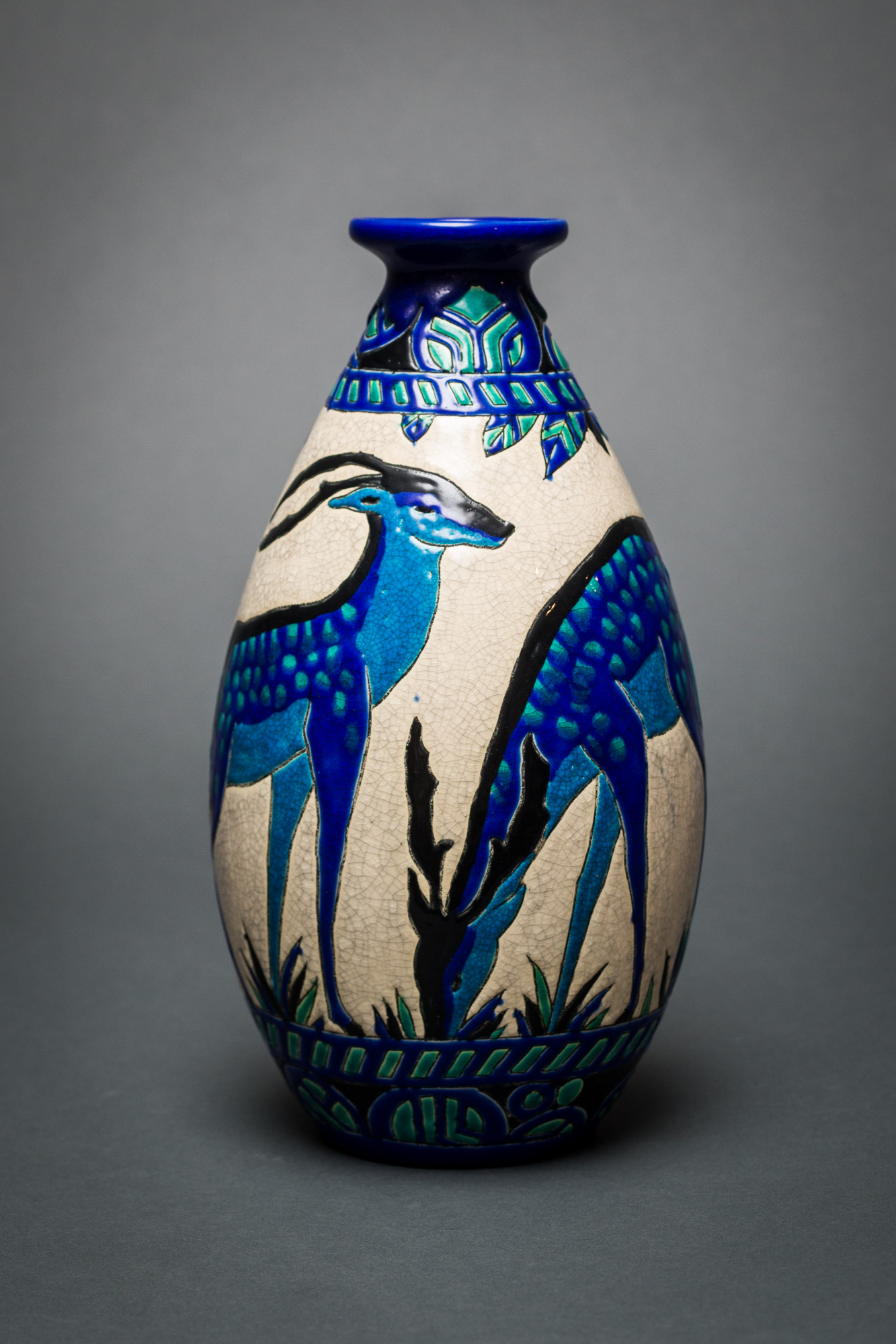 Single Vase with Deer, Designed by Charles Catteau at Boch Frères Keramis