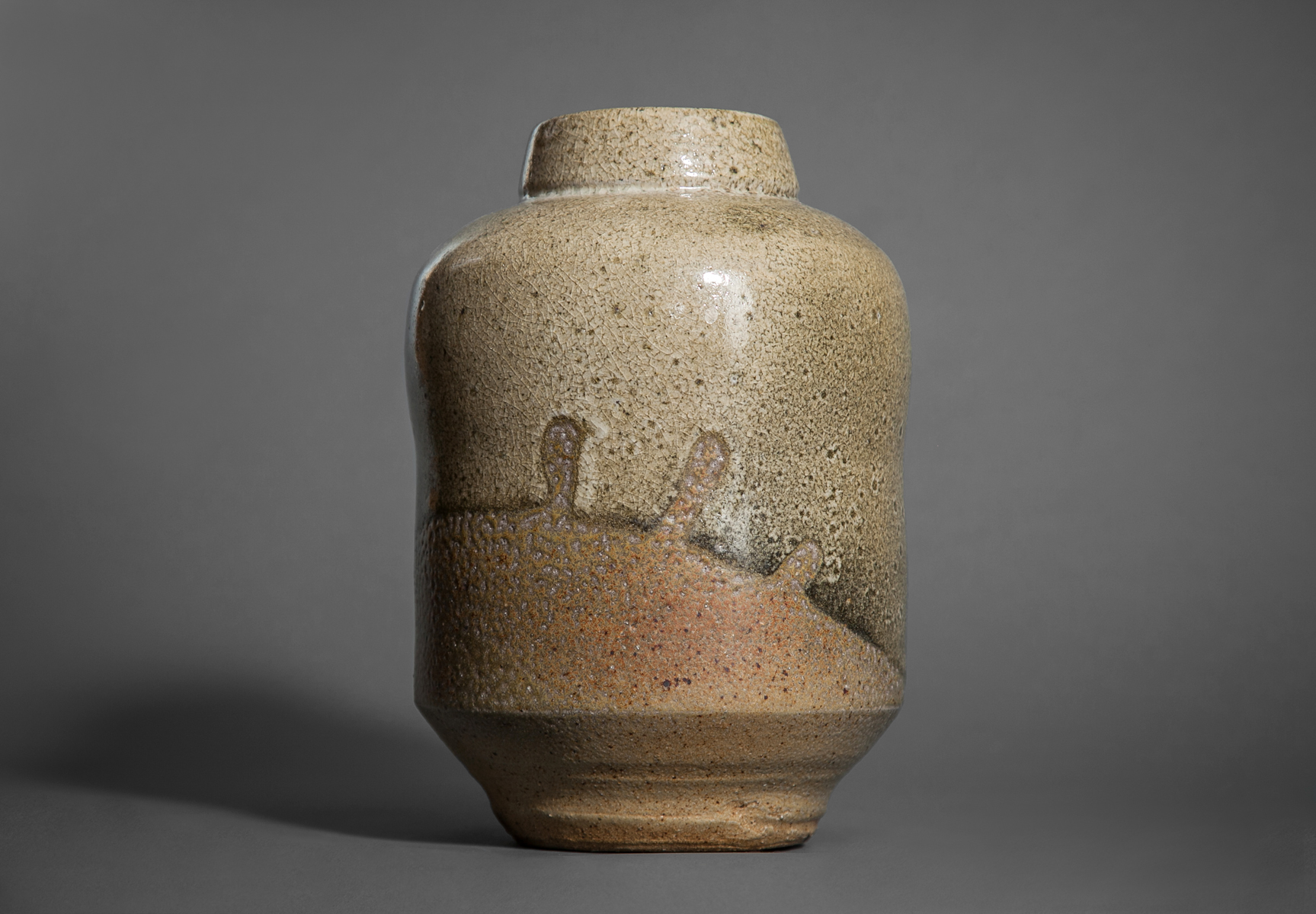 Stoneware Vase with Abstract Design