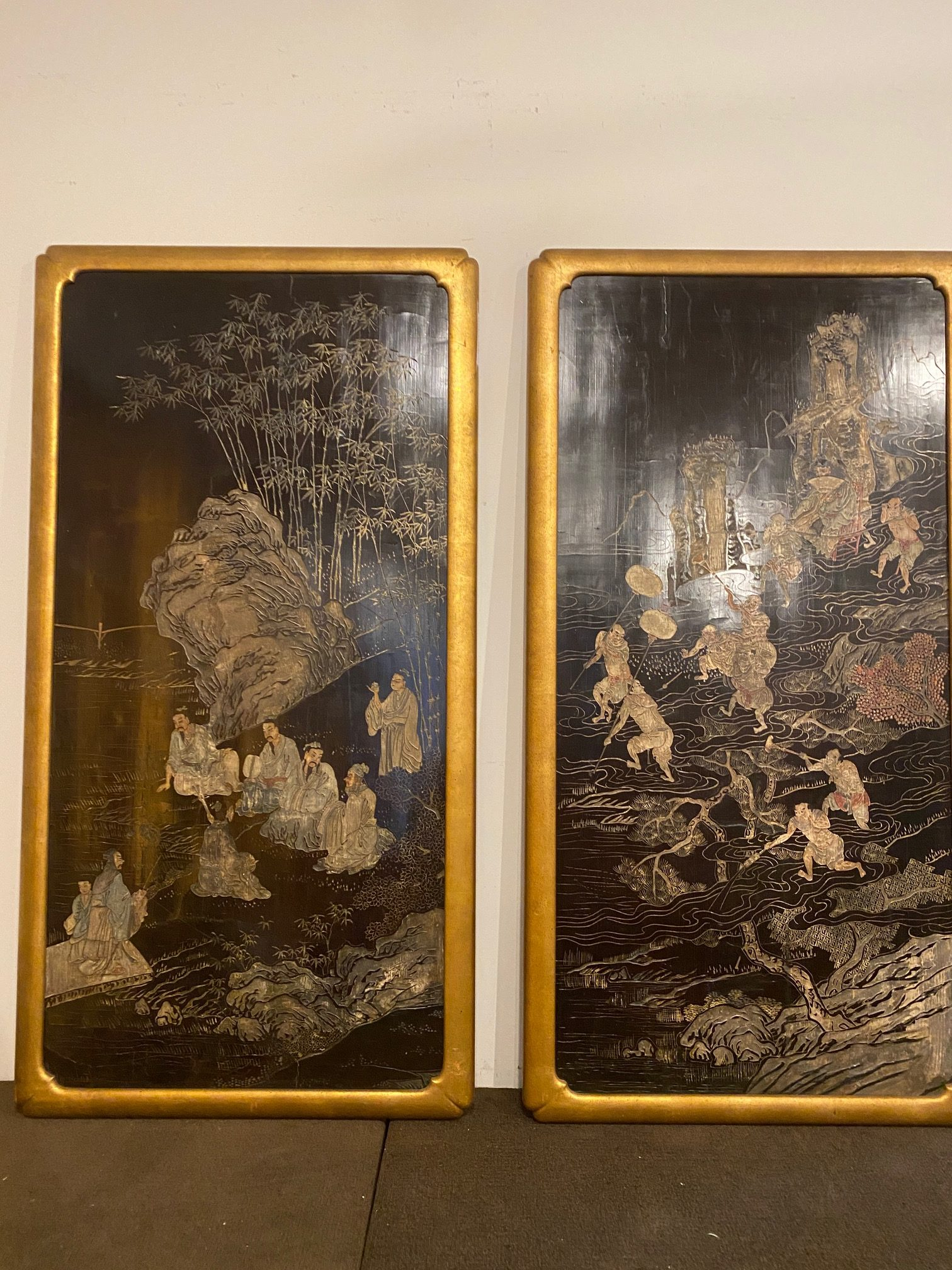 Pair of Chinese Carved and Painted Lacquer Panels