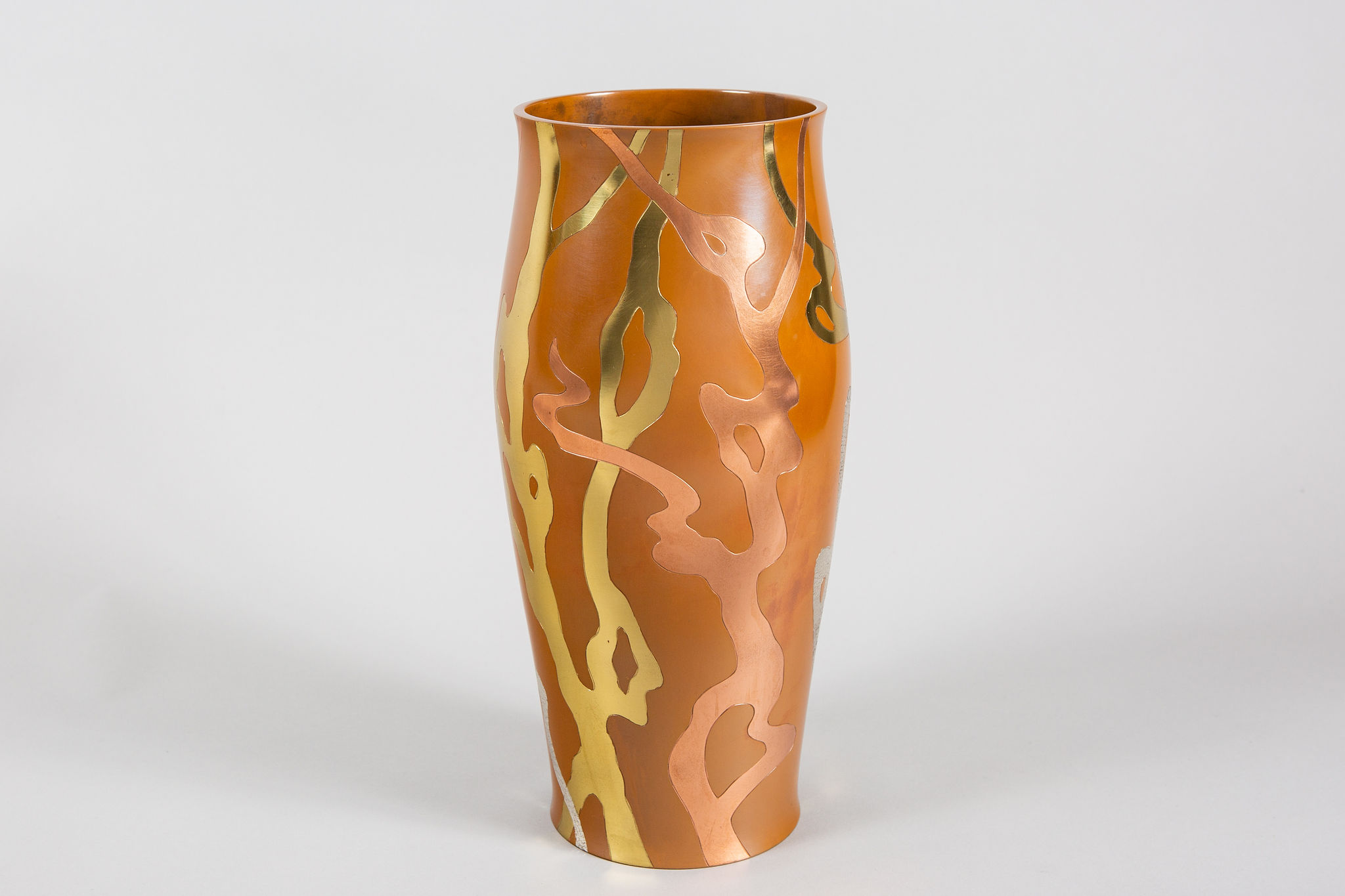 Abstract Japanese Bronze Vase with Mixed Metal