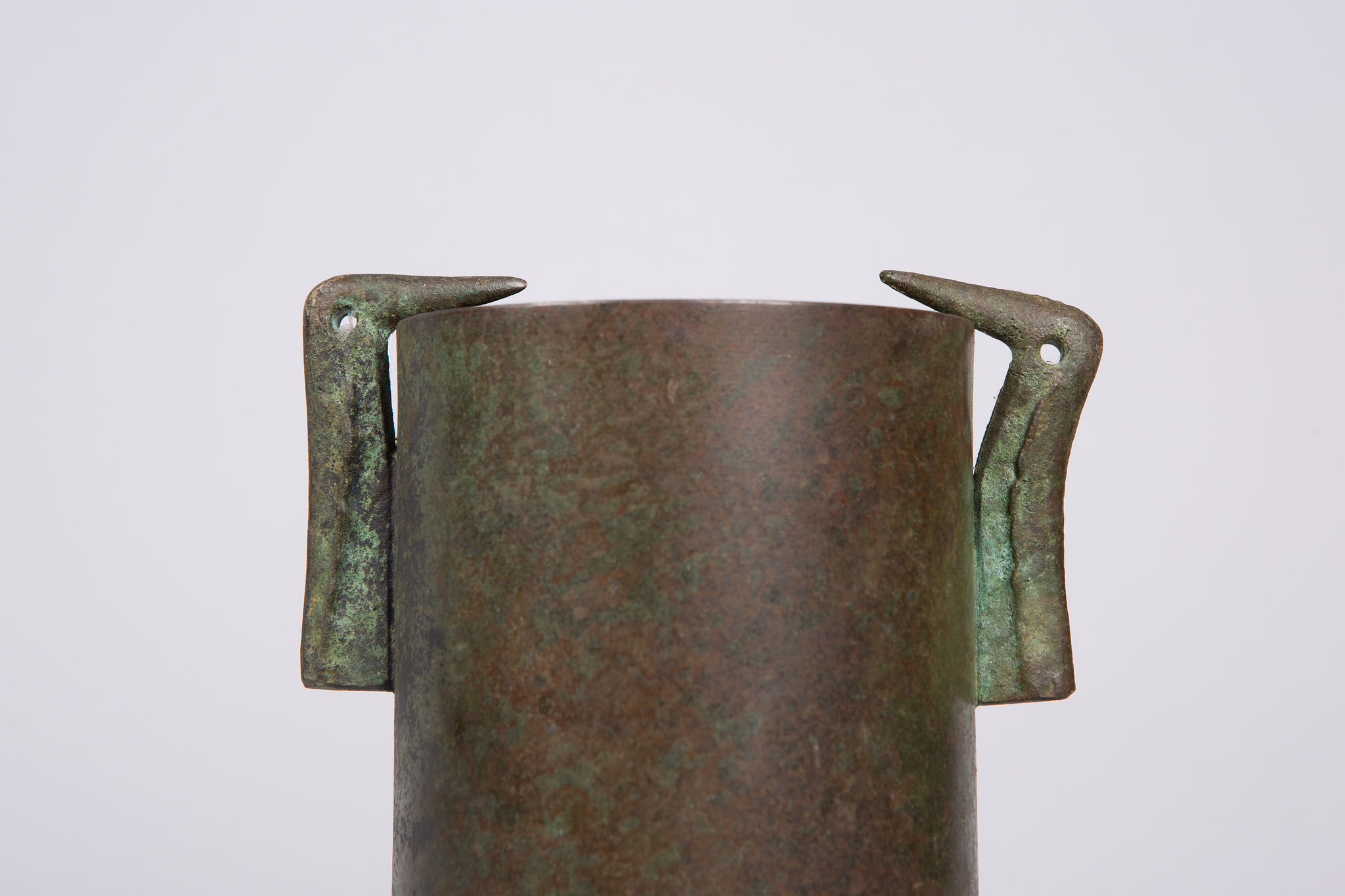 Japanese Bronze Vase with Bird Handles
