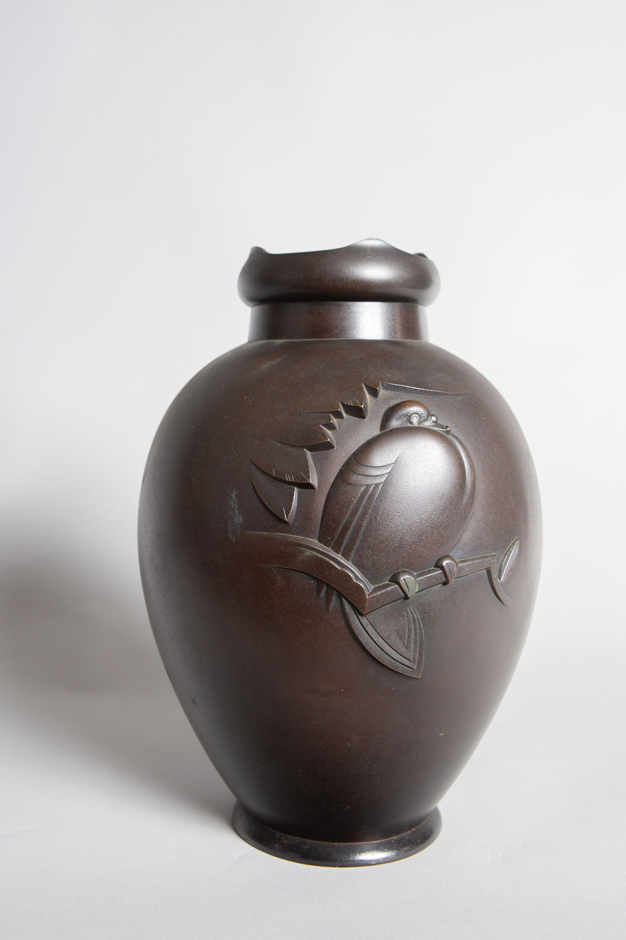 Japanese Bronze Vase with Pigeon Design