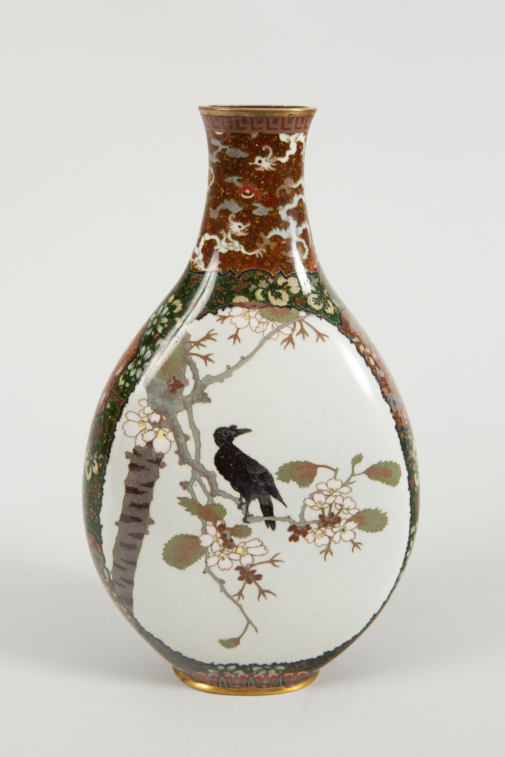 Japanese Cloisonne Vase With Raven And Waterfowl Naga Antiques