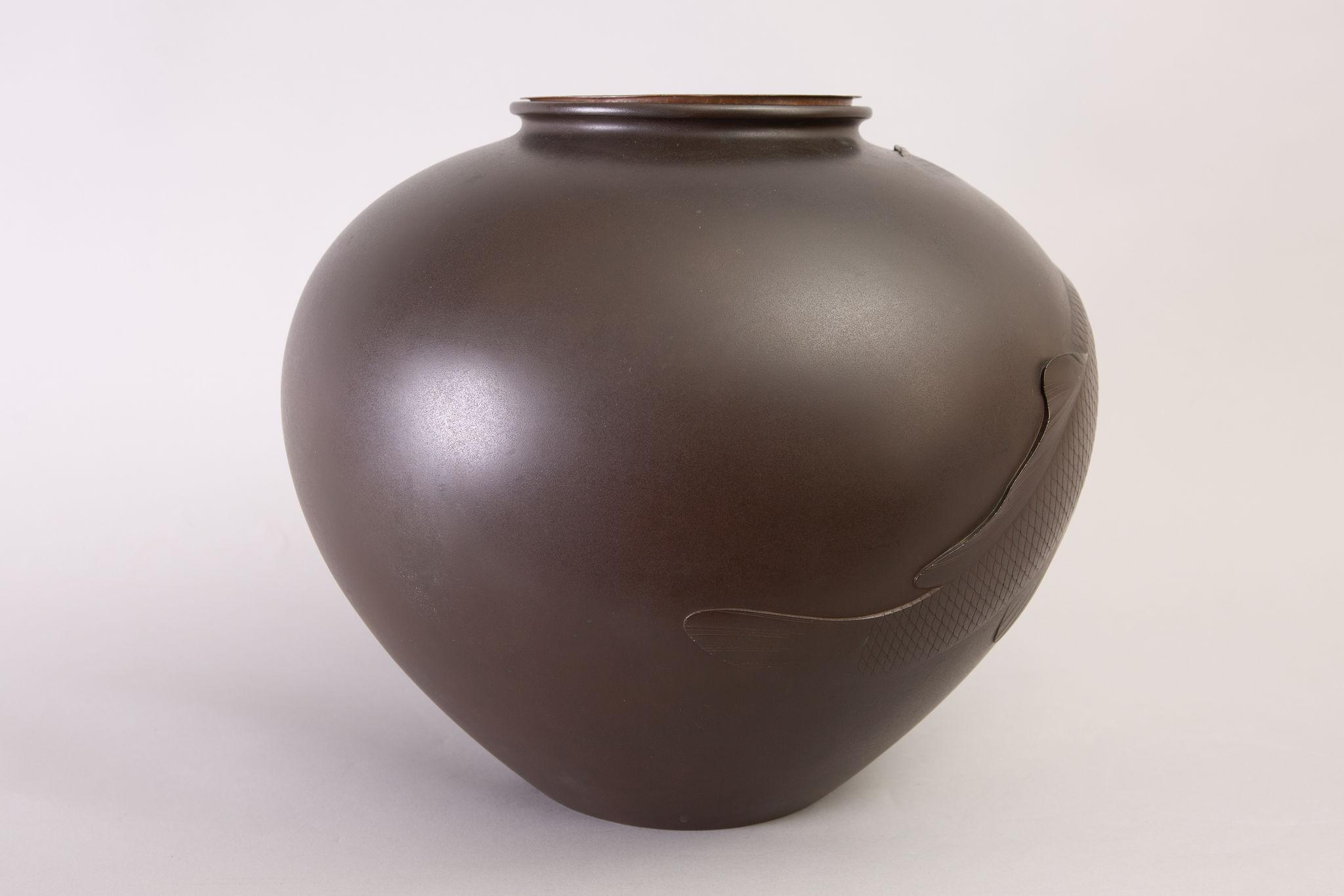 Japanese Large Bronze Vase With Carp Design