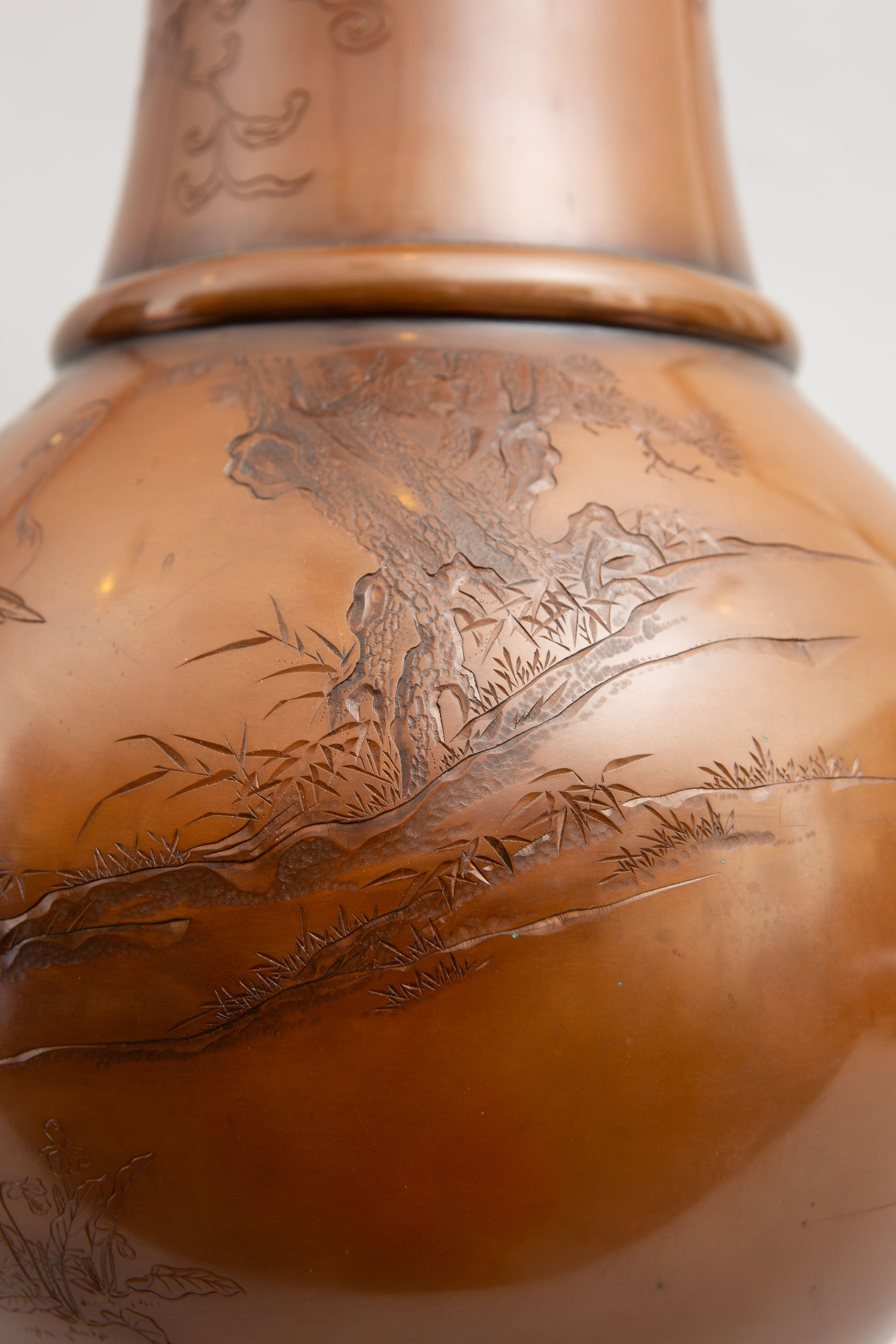 Pair of Japanese Large Bronze Vases with Turtles and Cranes