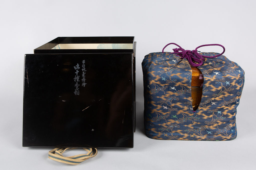 Spectacular Incense Box: Hills and River, Gold and Silver Chrysanthemums