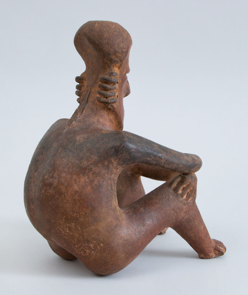 Proto-Classical (50 BC – 250 AD) Red-Ground Pottery Seated Figure of a Man