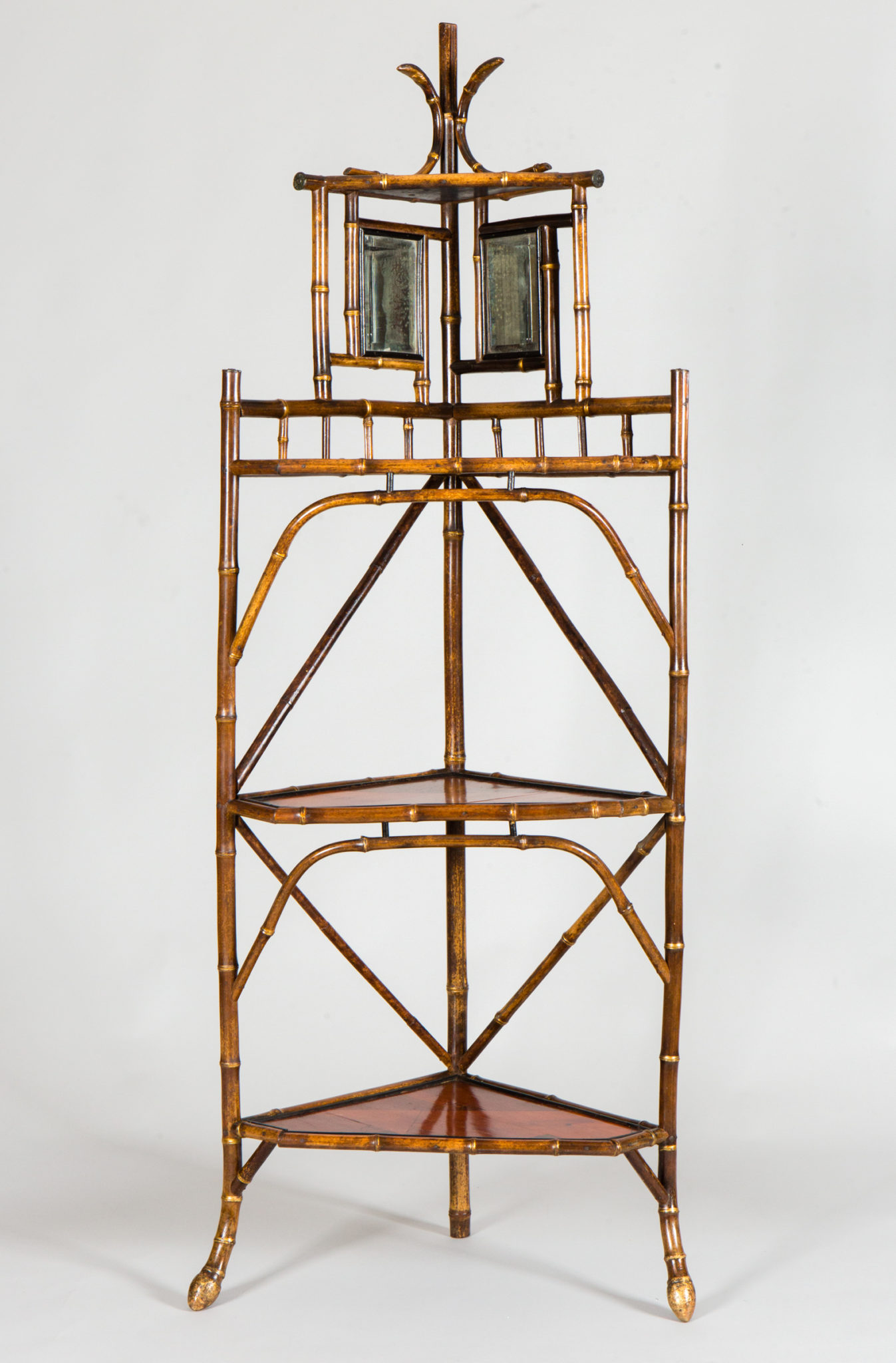 Bamboo and Parquetry Four Tier Corner Shelf