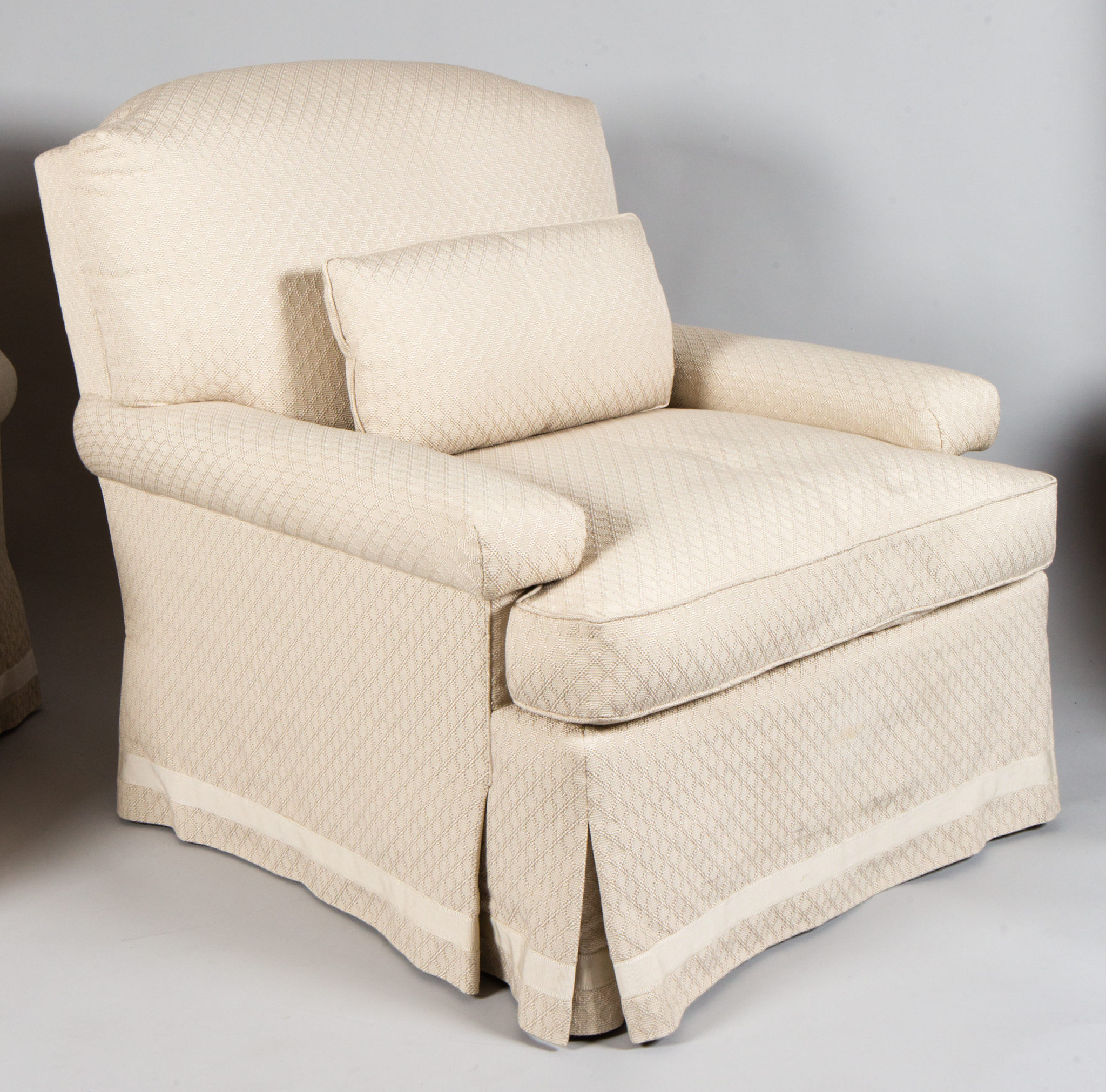 Pair of White Linen Club Chairs