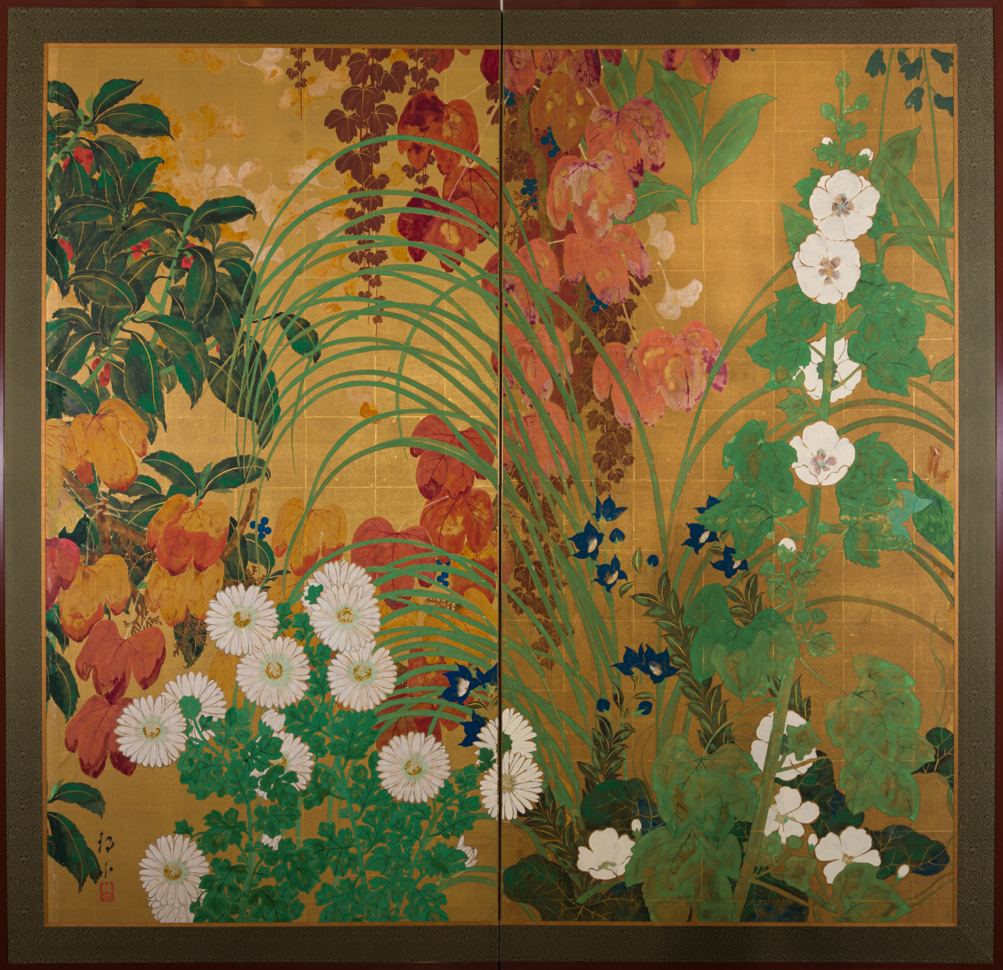 Japanese Two Panel Screen: Late Summer Into Fall