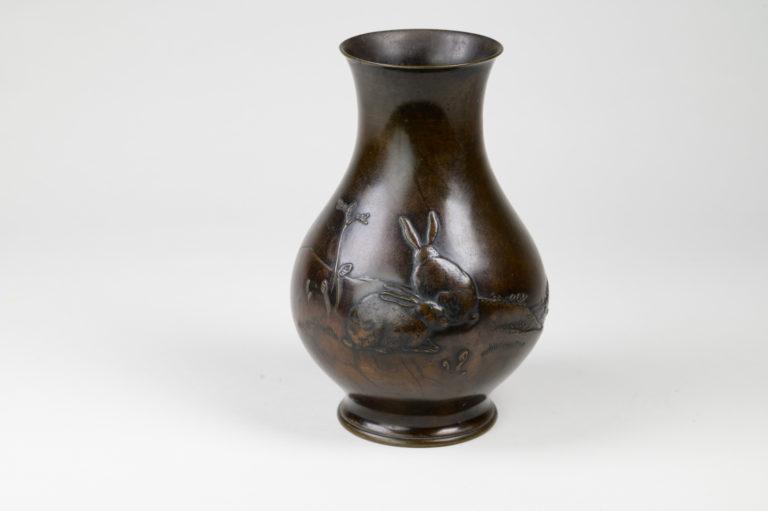 Japanese bronze vase, Japanese bronze, Japanese vase, antique bronze vase, antique vase, rabbit vase, rabbit bronze, Japanese rabbit, bronze rabbit