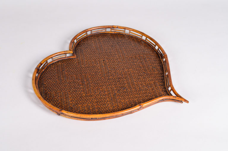 Japanese antique, Antique Tray, Japanese tray, Japanese rattan, rattan, heart, heart tray, rattan tray, antique tray