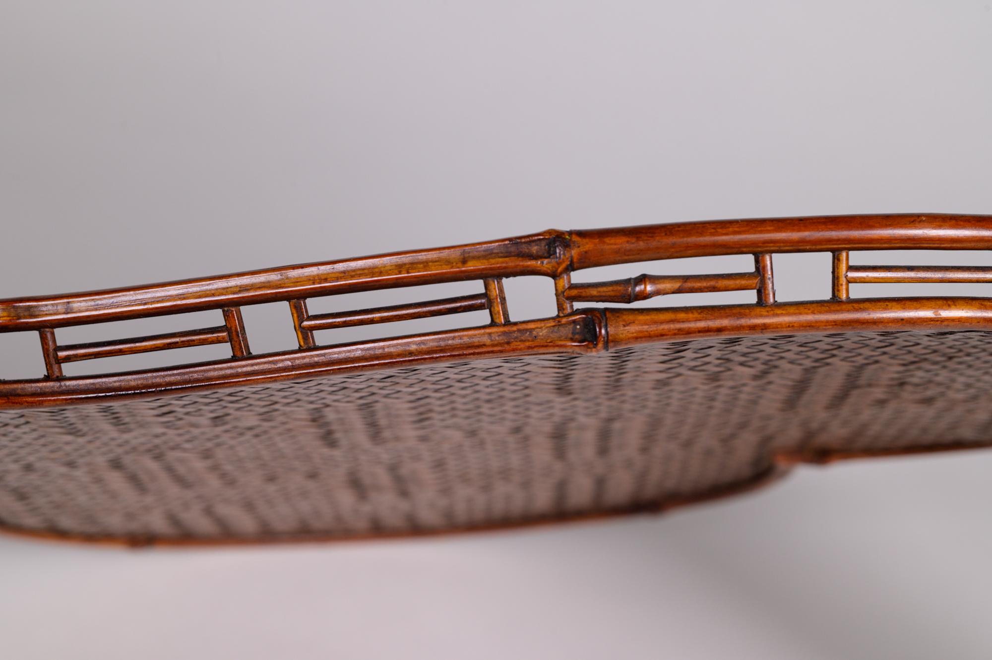 Japanese antique, Antique Tray, Japanese tray, Japanese rattan, rattan, heart, heart tray, rattan tray, antique tray