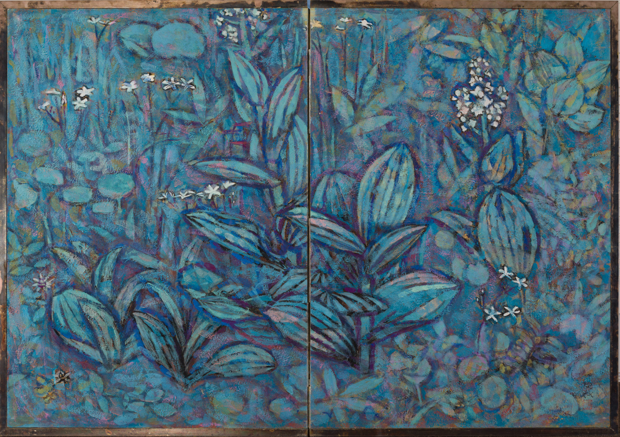 """Japanese Two Panel Screen: """"Flowers of the Highland"""""""