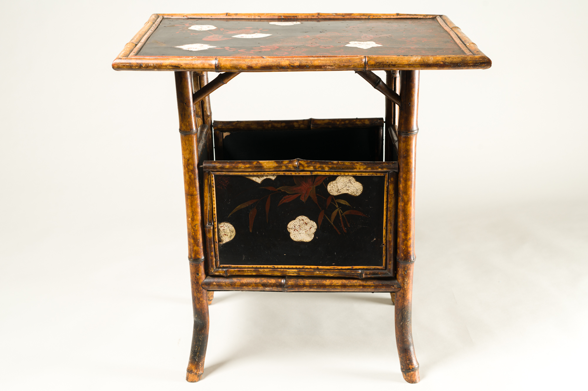 English Table with Lacquer Japanning, Eggshell Design and Bamboo
