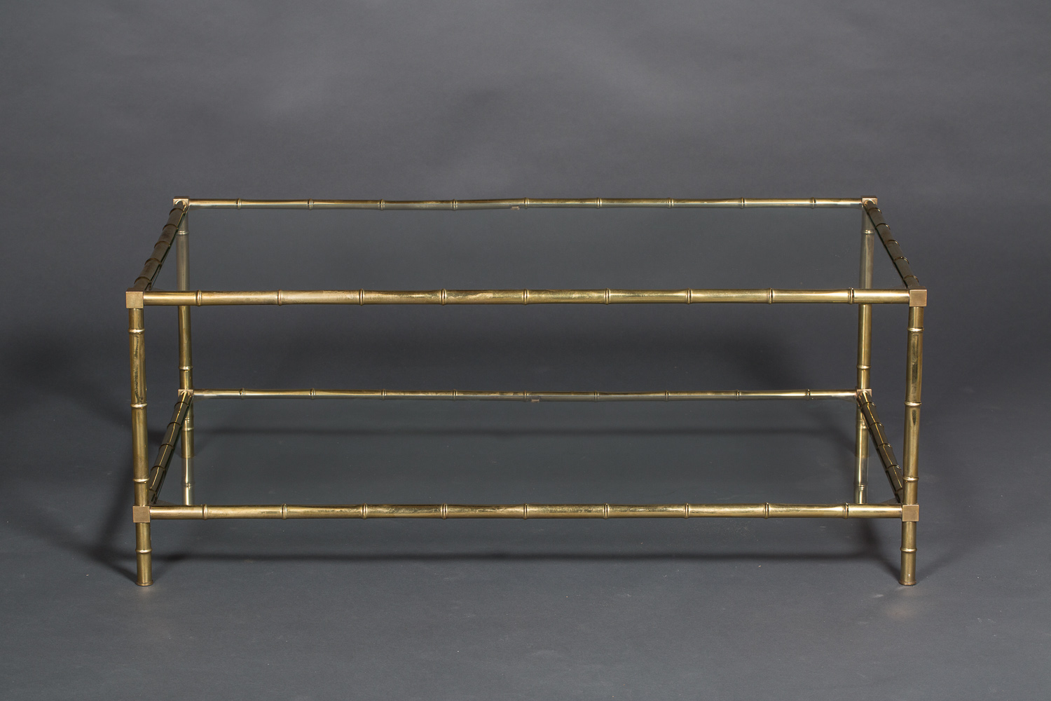 Faux Bamboo Brass and Glass Coffee Table
