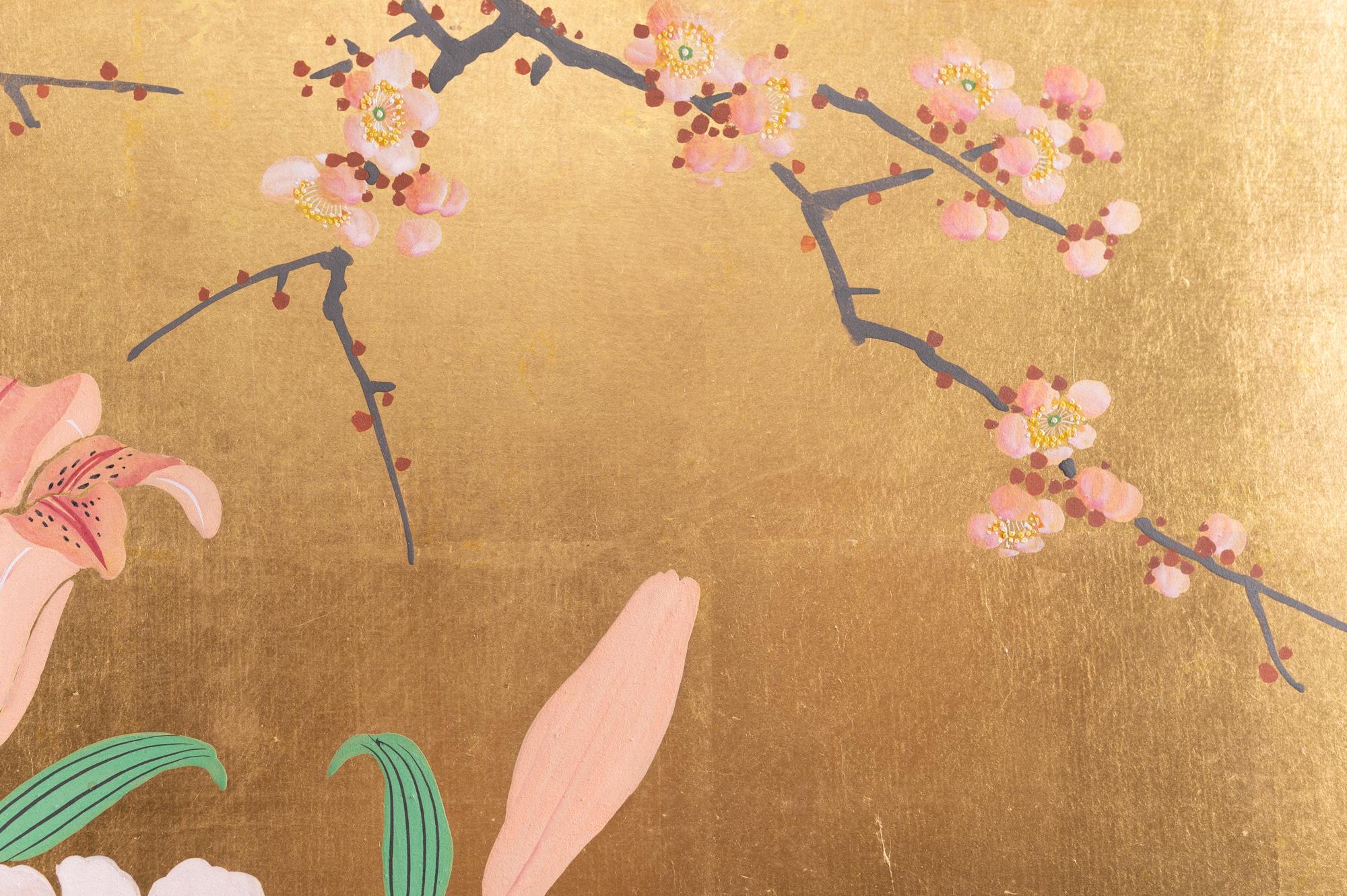 Japanese Two Panel Screen: Ikebana on Gold