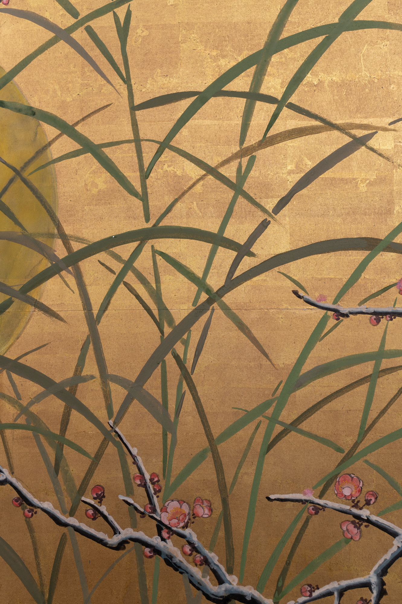 Japanese Six Panel Screen: Winter Landscape with Flowering Plum