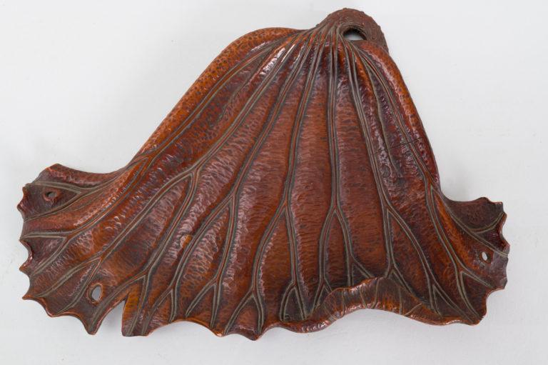 Japanese antique, antique tray, Japanese tray, lotus leaf, antique wood tray, Japanese art