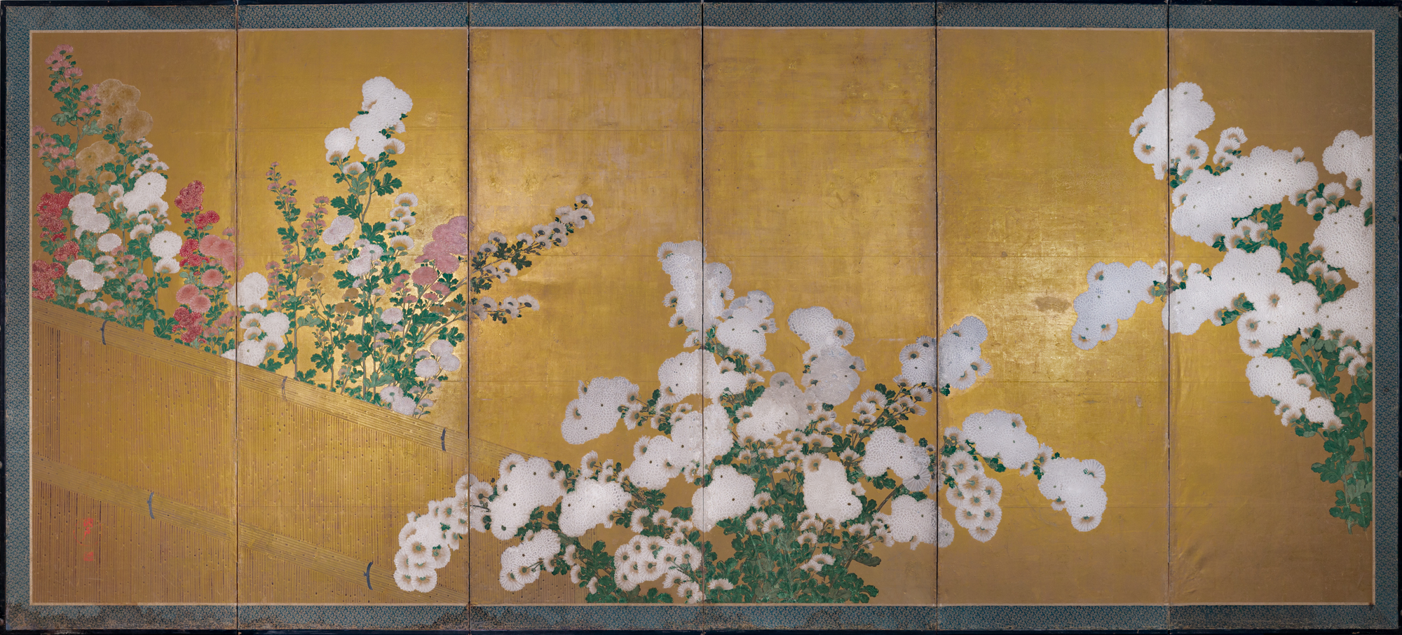 Japanese Six Panel Screen: By Garden's Edge