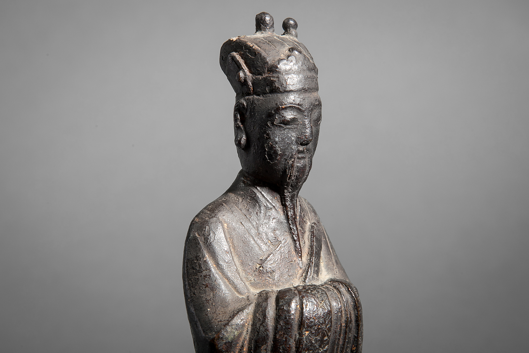 16th Century Chinese Standing Bronze Figure of a  Nobleman