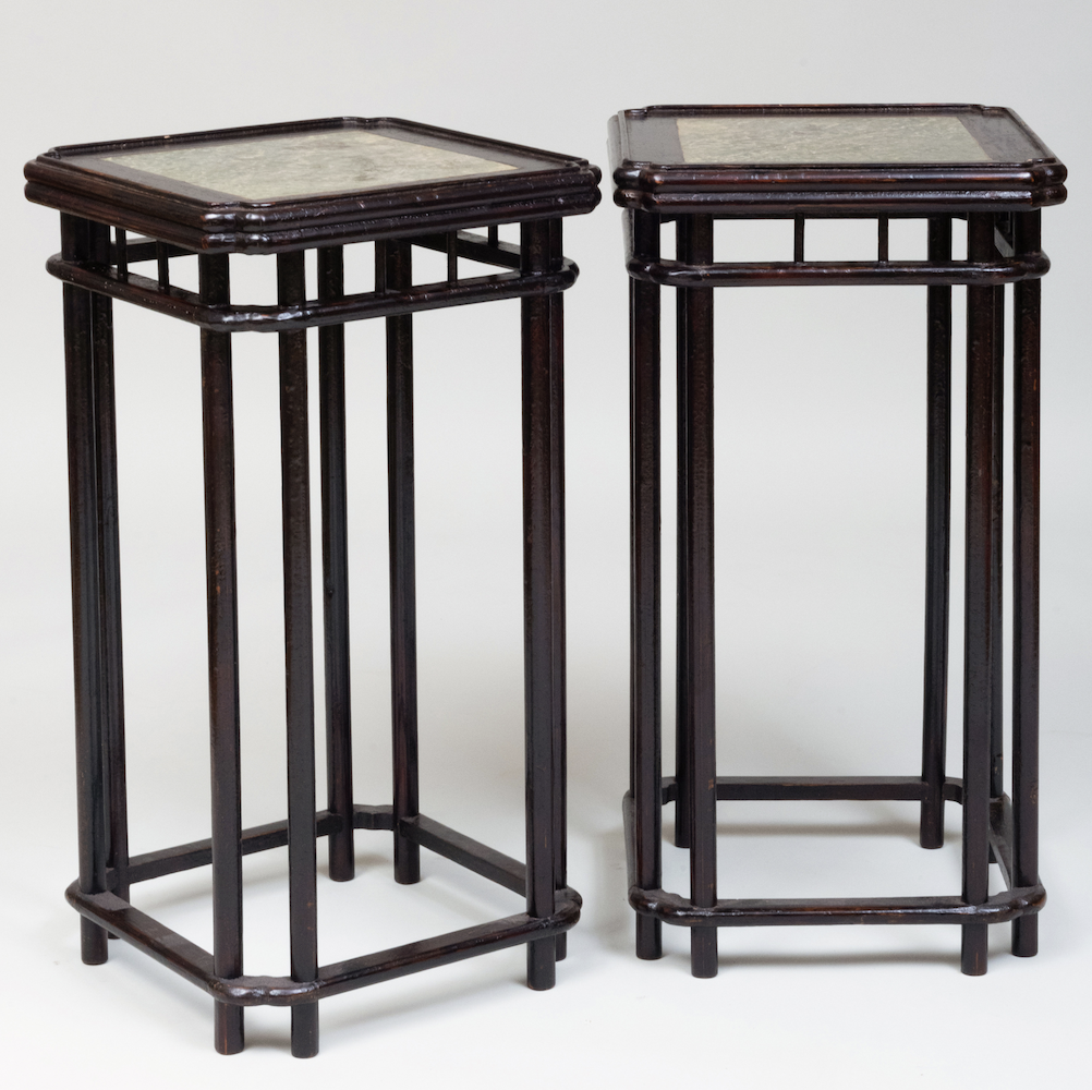 Pair of 19th Century Chinese Lacquer and Stone Pedestals