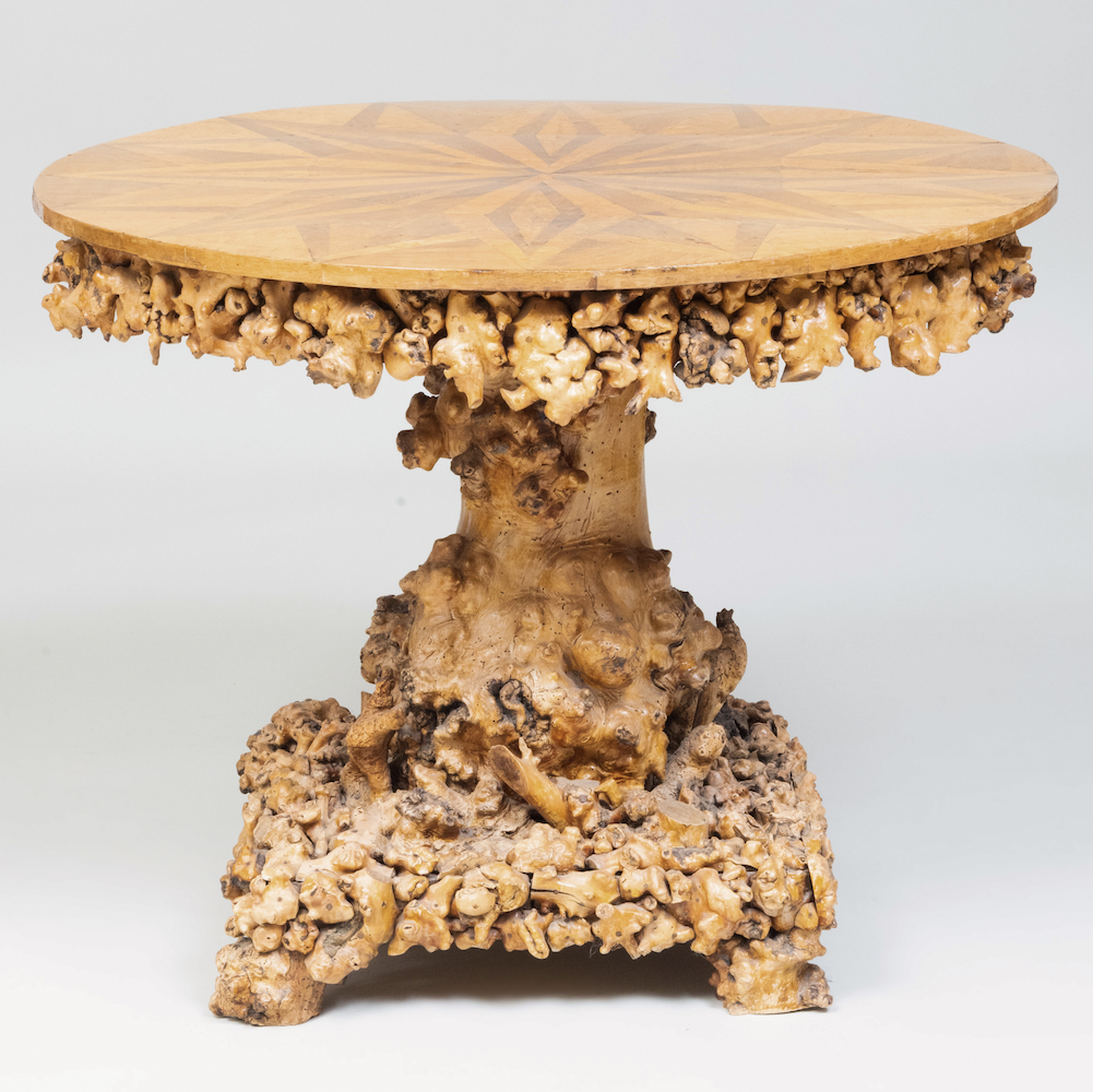 Continental Burl Rootwood Parquetry Center Table