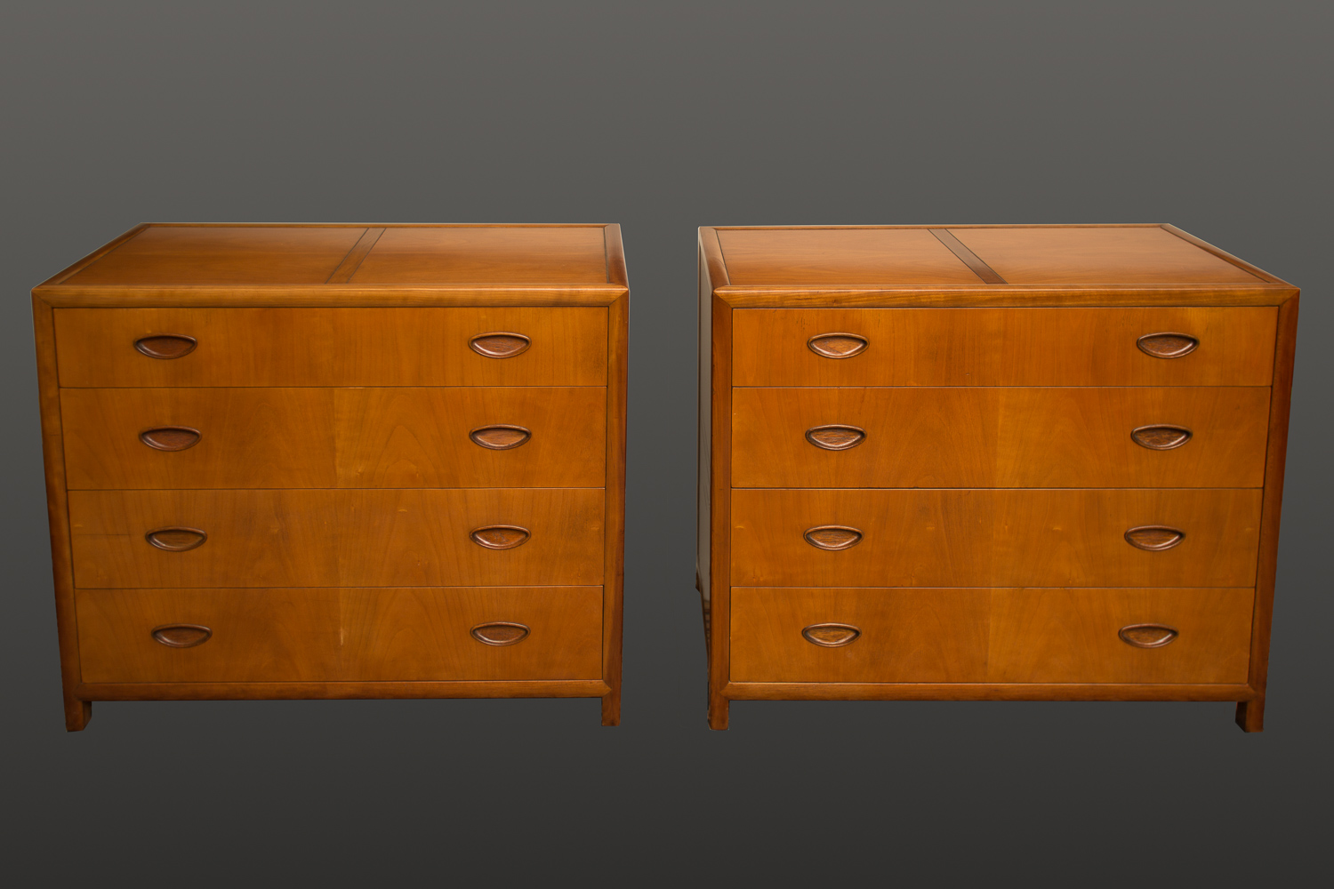 Pair of Michael Taylor Four Drawer Chests in Elm Wood
