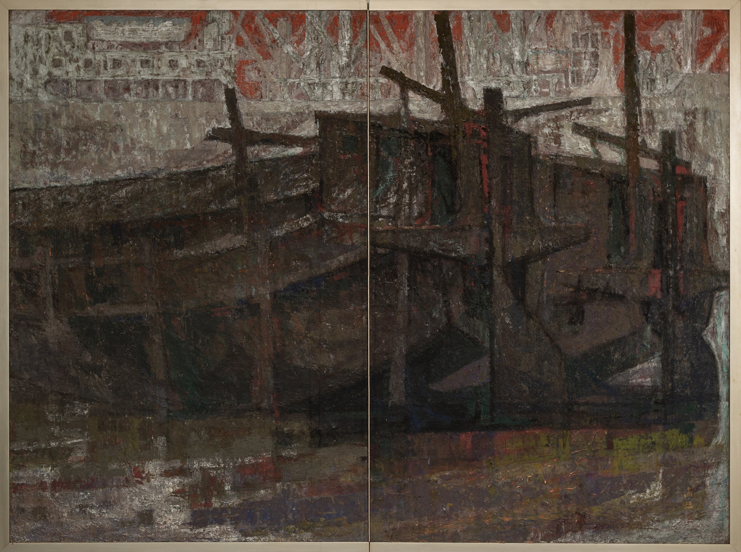 Japanese Two Panel Screen: Harbor Scene in Abstract Form