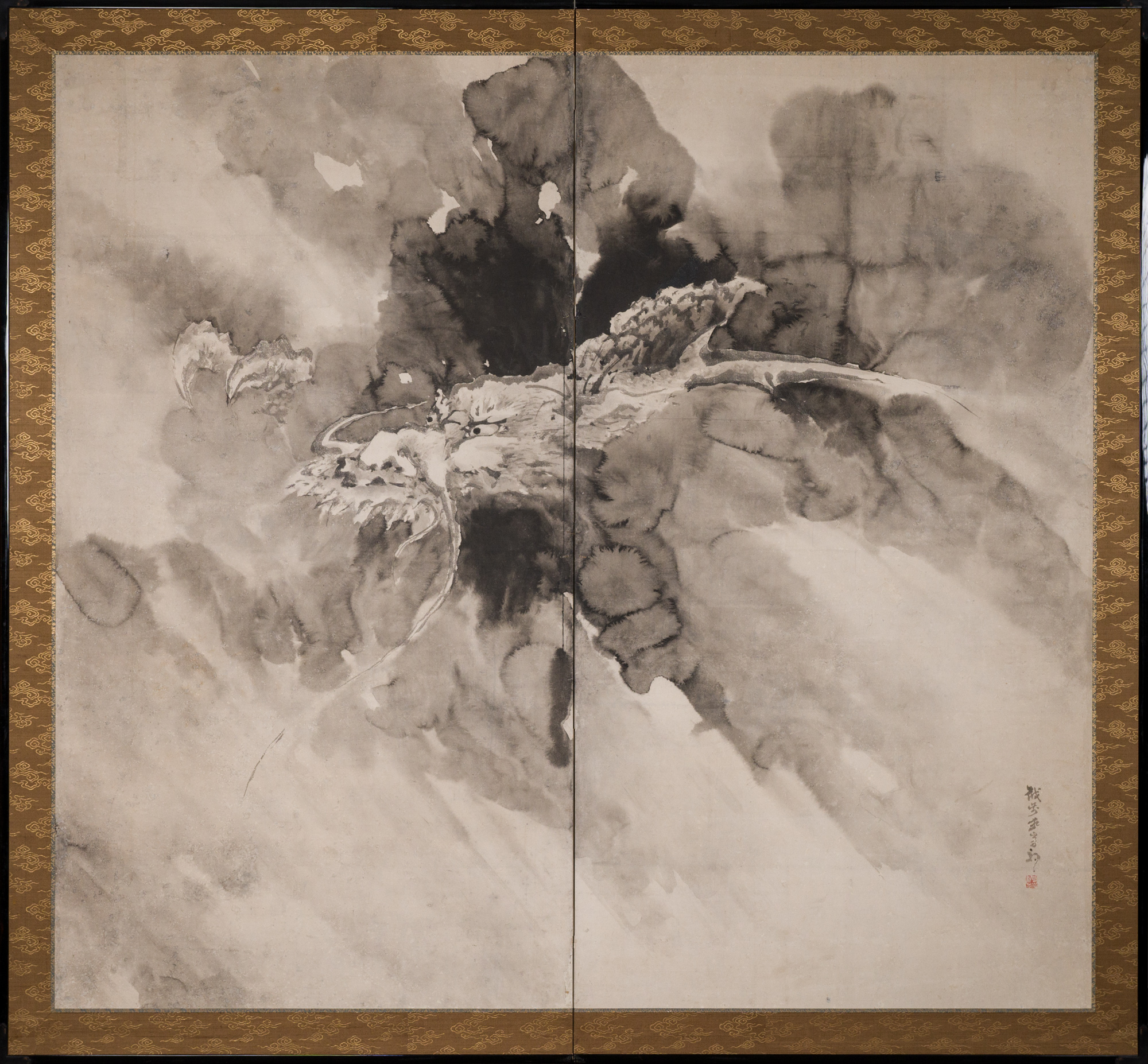 Japanese Two Panel Screen: Dragon in the Mist