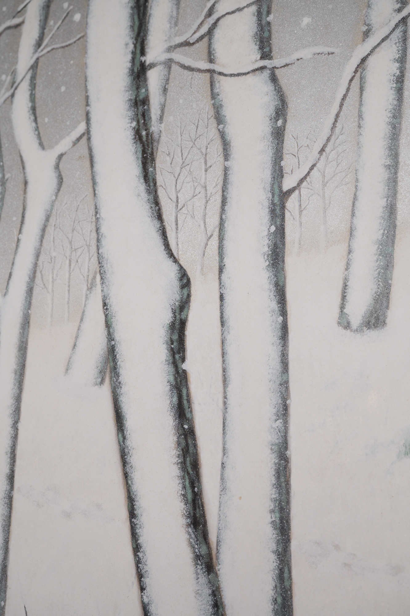 Japanese Two Panel Screen: Snow Flakes Falling in the Forest