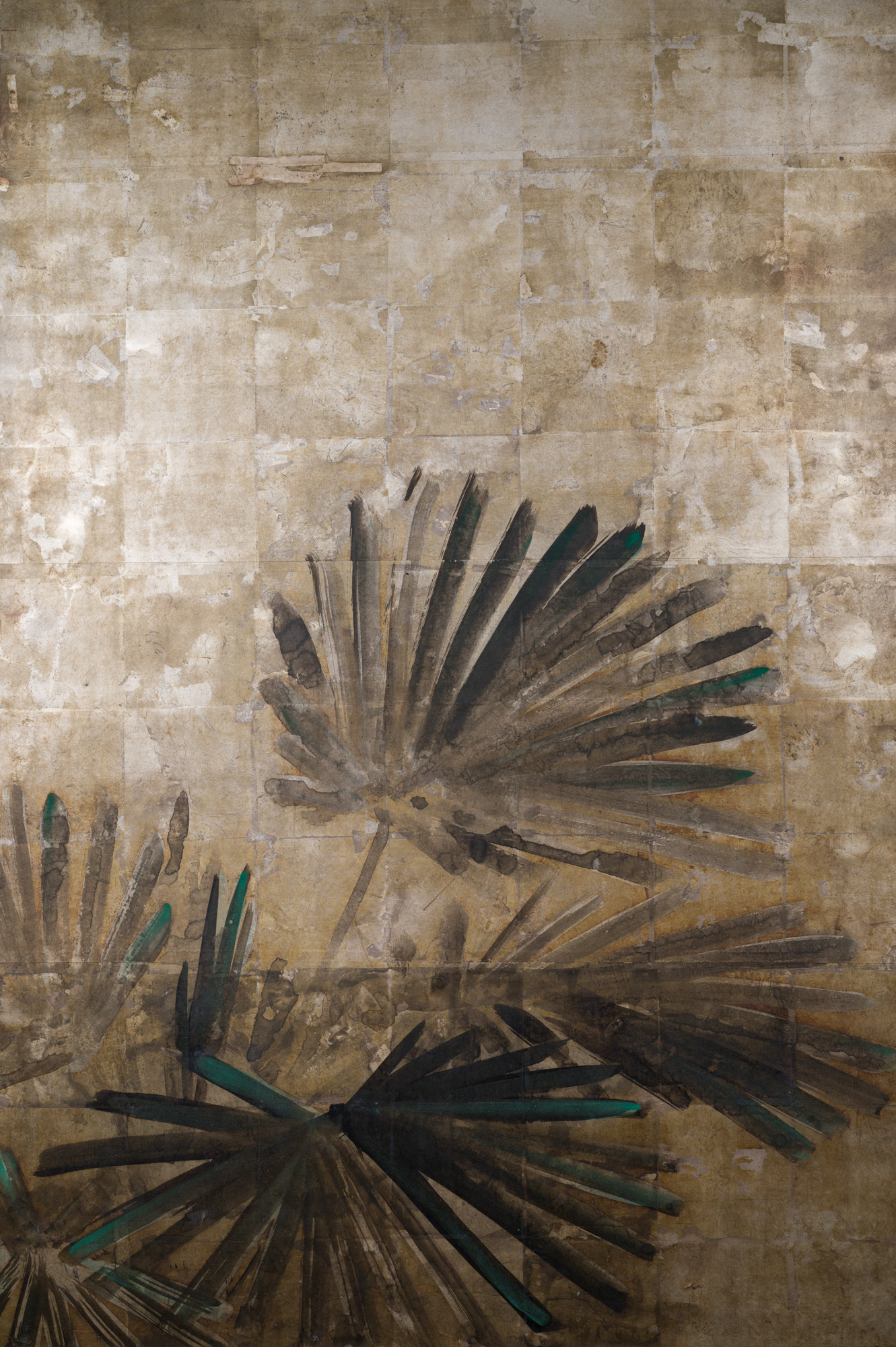 Japanese Two Panel Screen: Palms on Silver