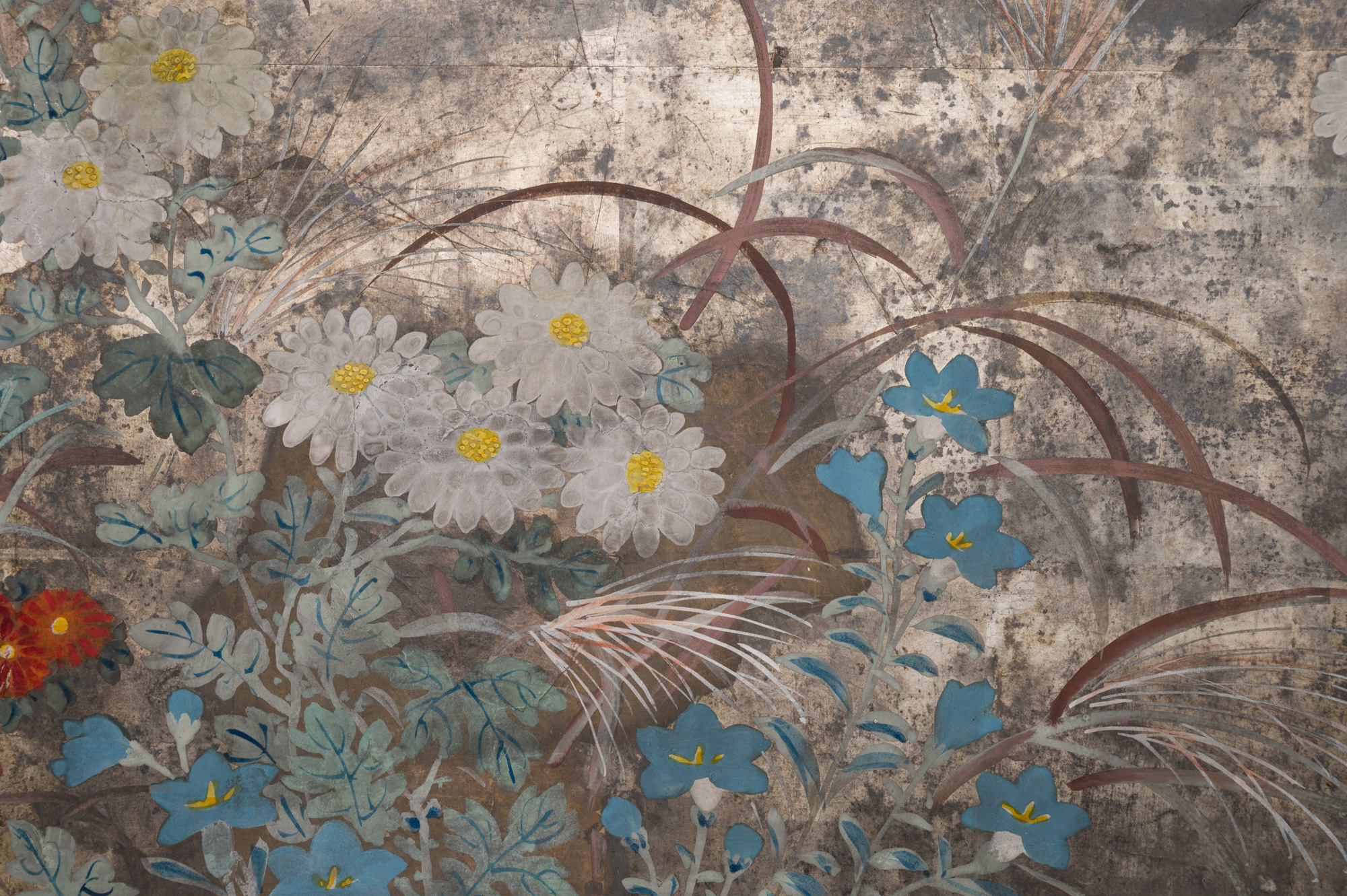 Japanese Six Panel Screen: Chrysanthemums, Althea and Grasses
