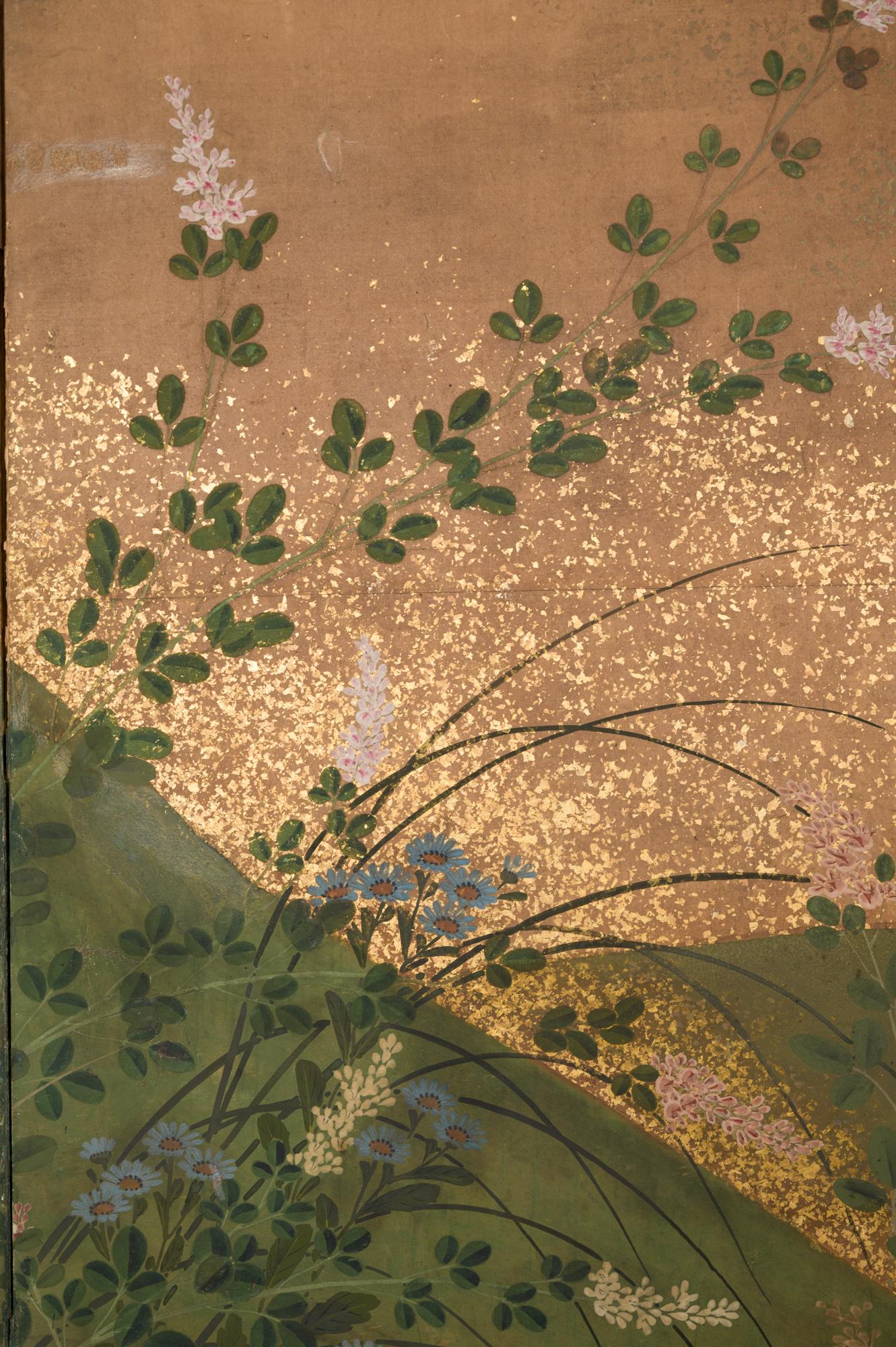 Japanese Four Panel Screen: Flowering Bush Clover