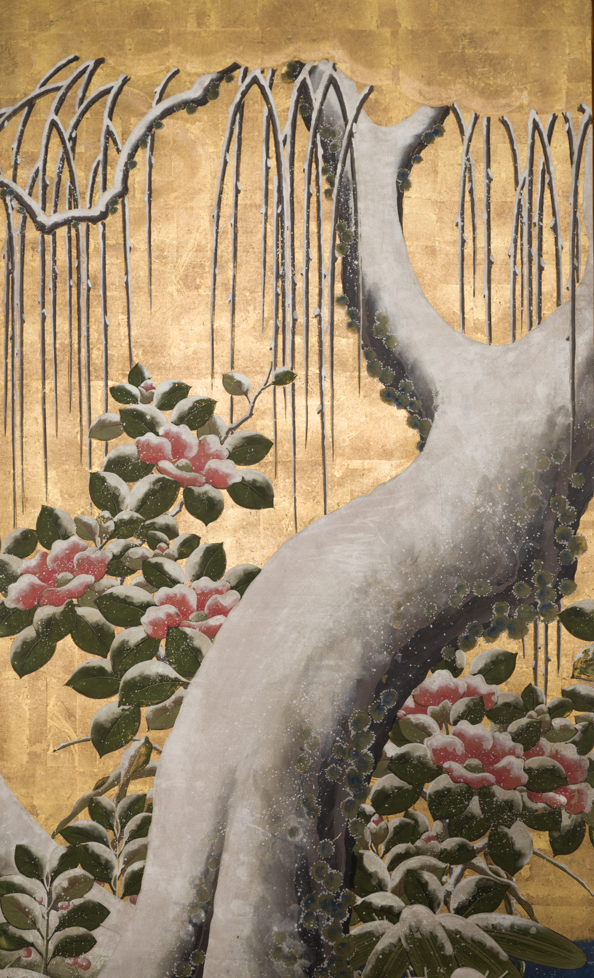 Japanese Six Panel Screen: Egrets Under Willow
